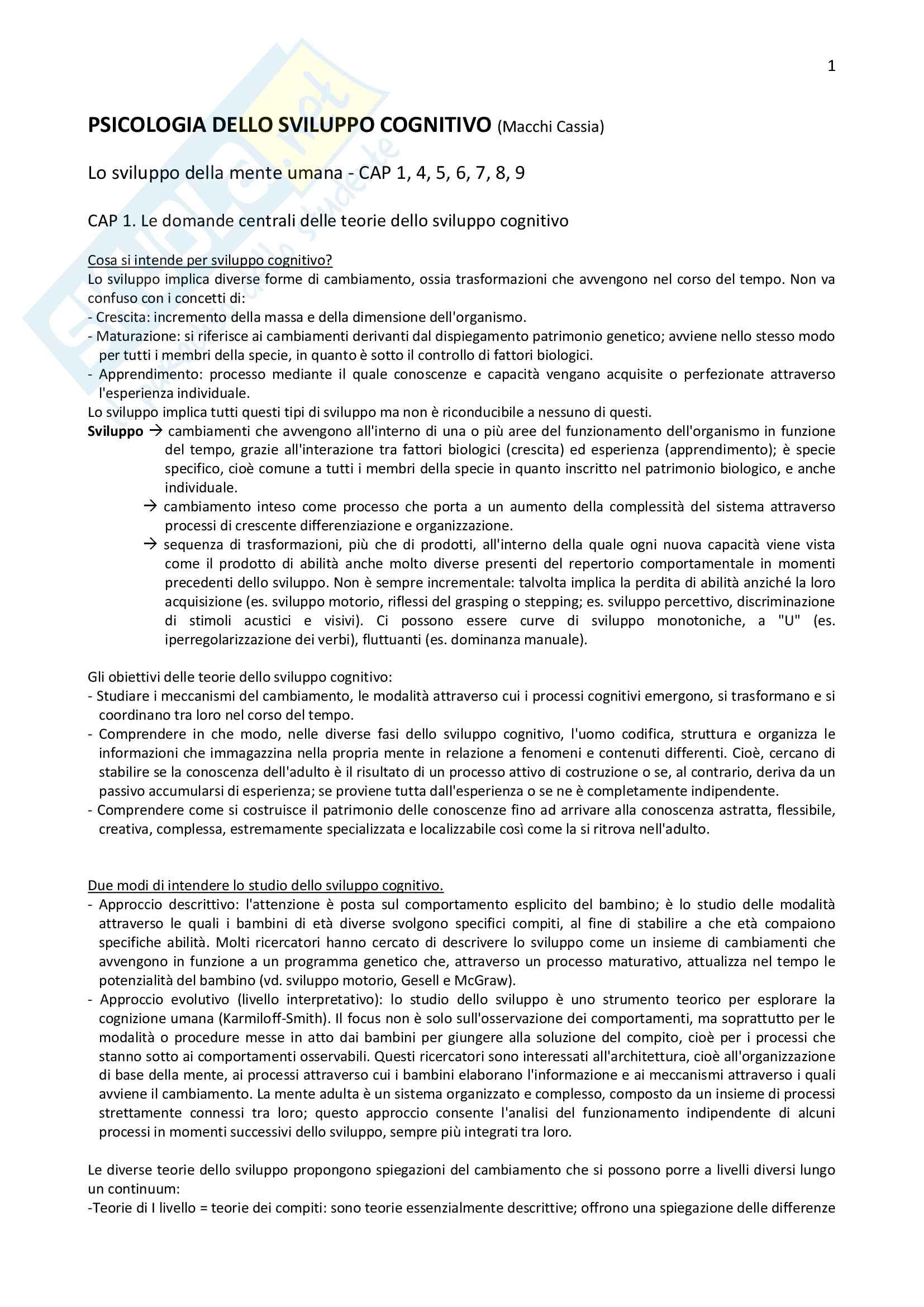 """""""Riassunto esame """"Psicologia dello sviluppo cognitivo"""", prof. Macchi Cassia, libro consigliato Manuale di psicologia dello sviluppo"""