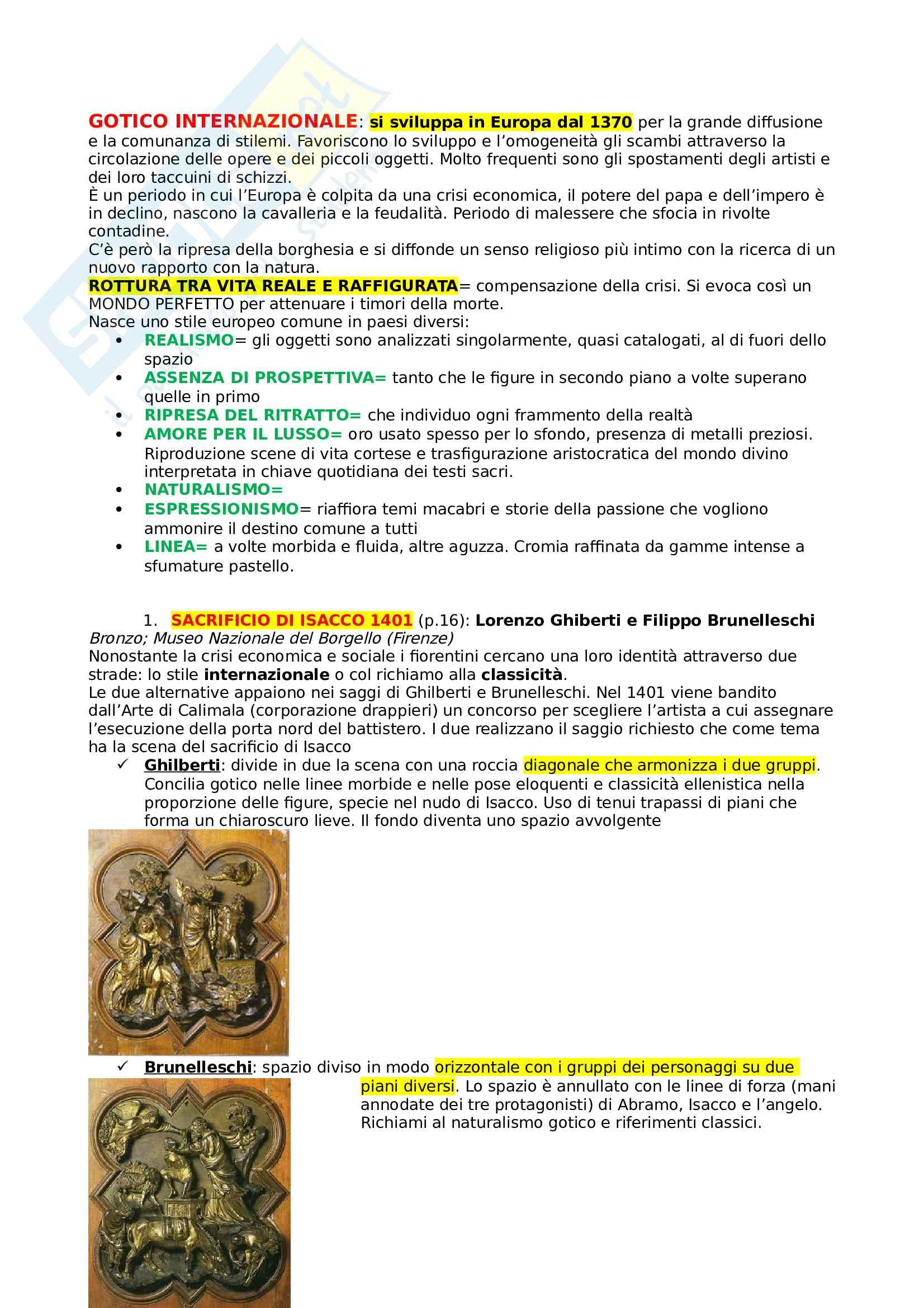 Schemi storia dell'arte (opere chieste nello scritto)
