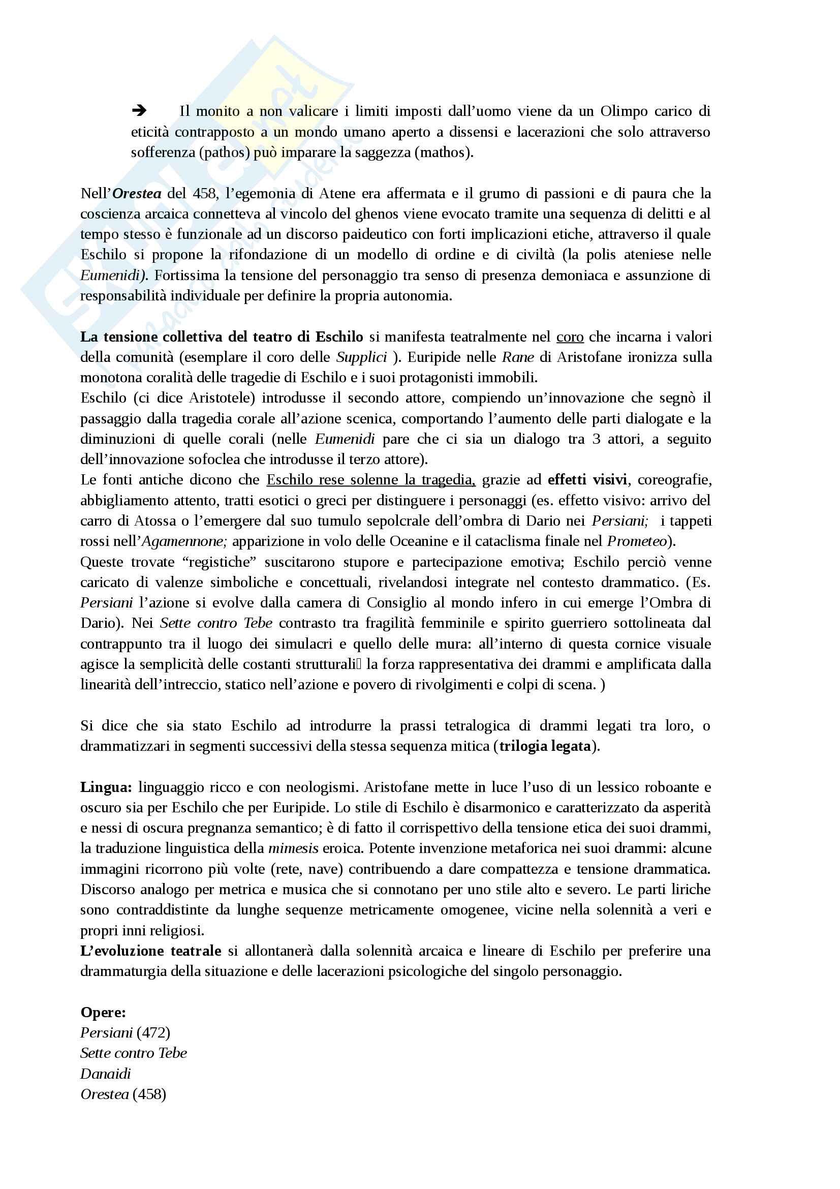 """Sunto esame Storia dello Spettacolo nel mondo antico, Prof. Tosi, libro consigliato """"Storia del teatro greco"""", Totaro Pag. 16"""
