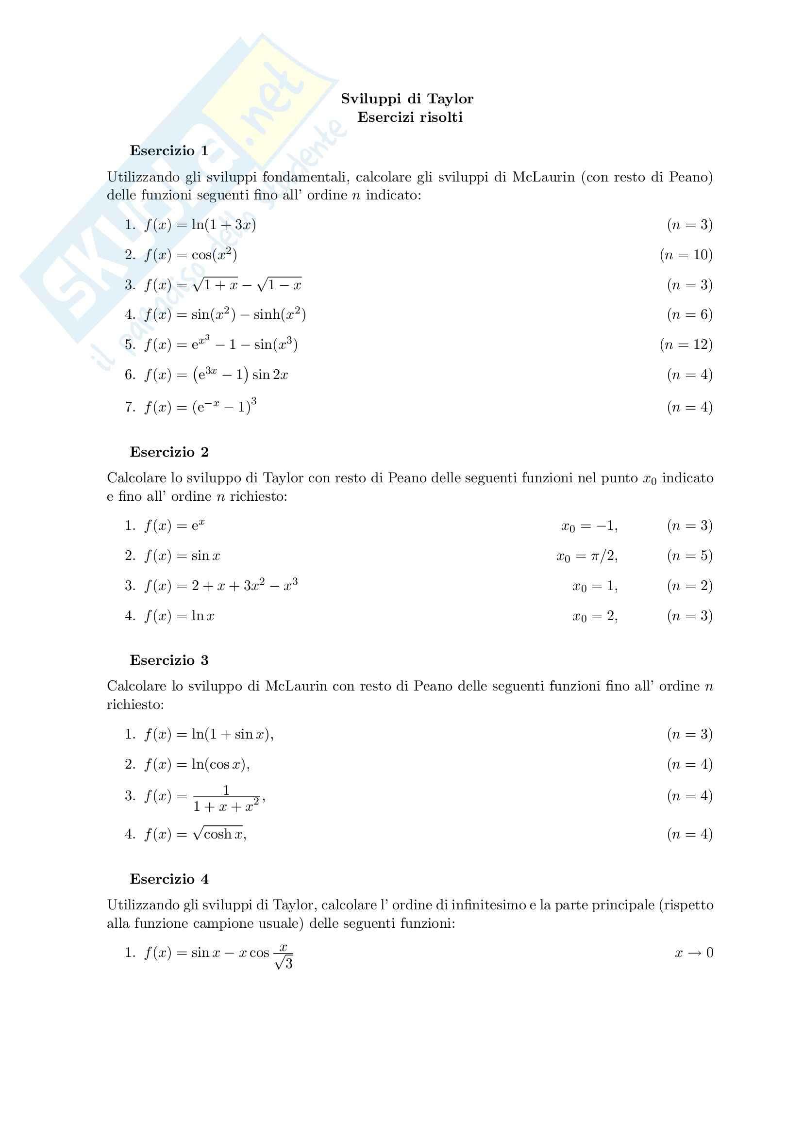 Analisi matematica I - esercizi sugli sviluppi di  Taylor