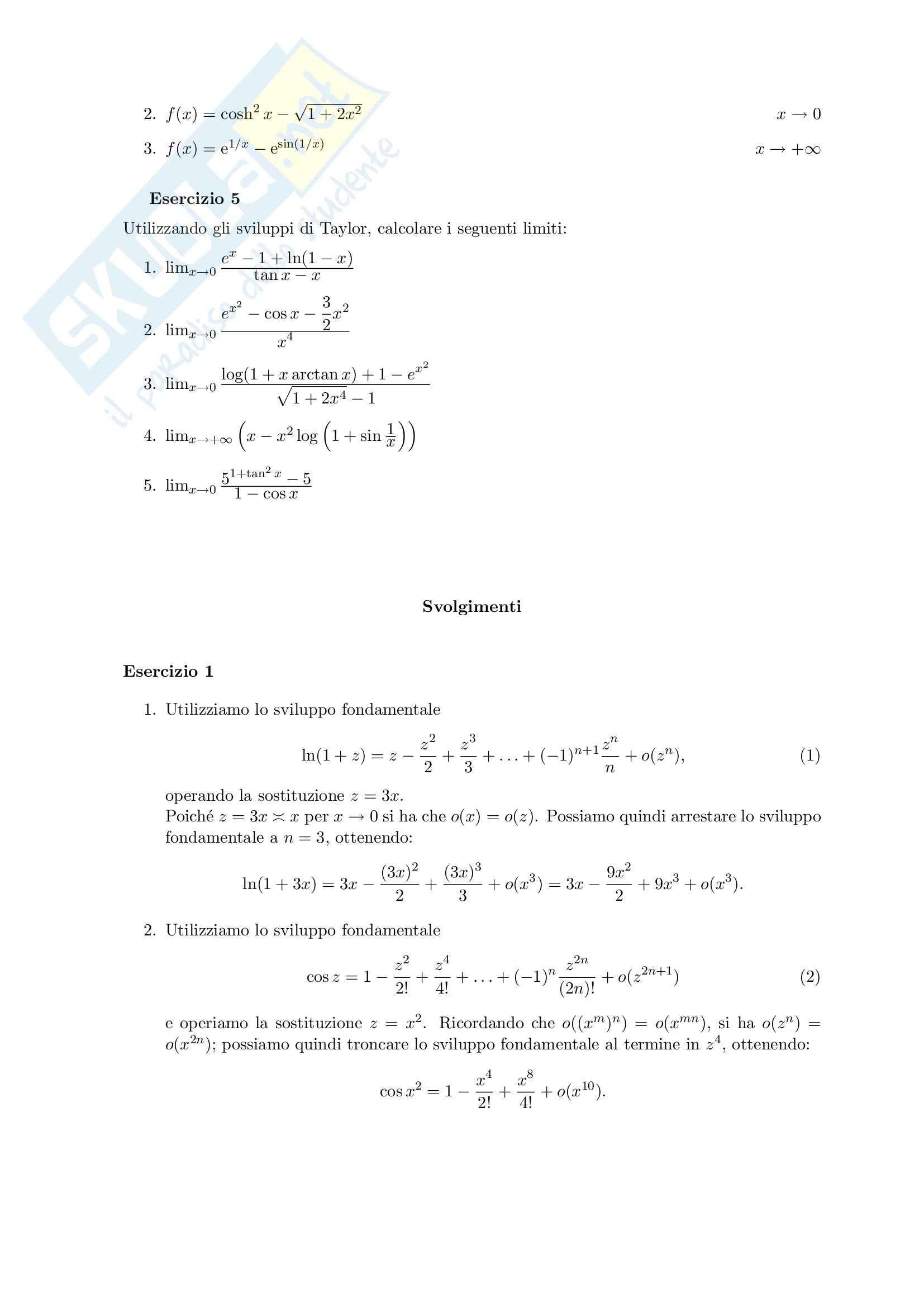 Analisi matematica I - esercizi sugli sviluppi di  Taylor Pag. 2