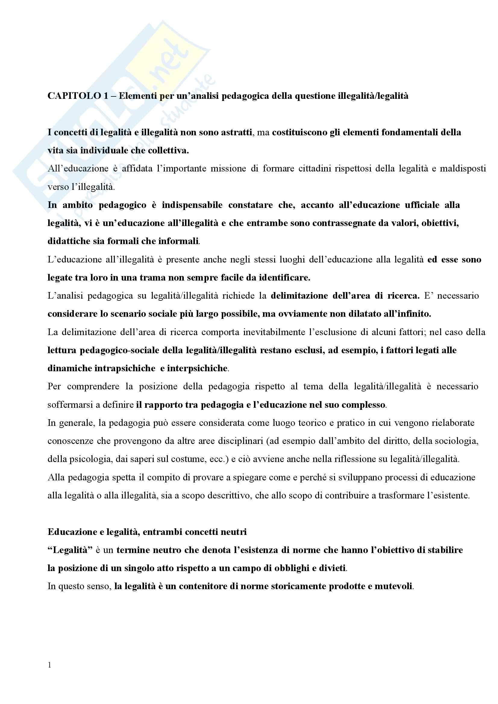 Riassunto esame Pedagogia Sociale, prof. Tramma, libro consigliato Legalità Illegalità: Il Confine Pedagogico
