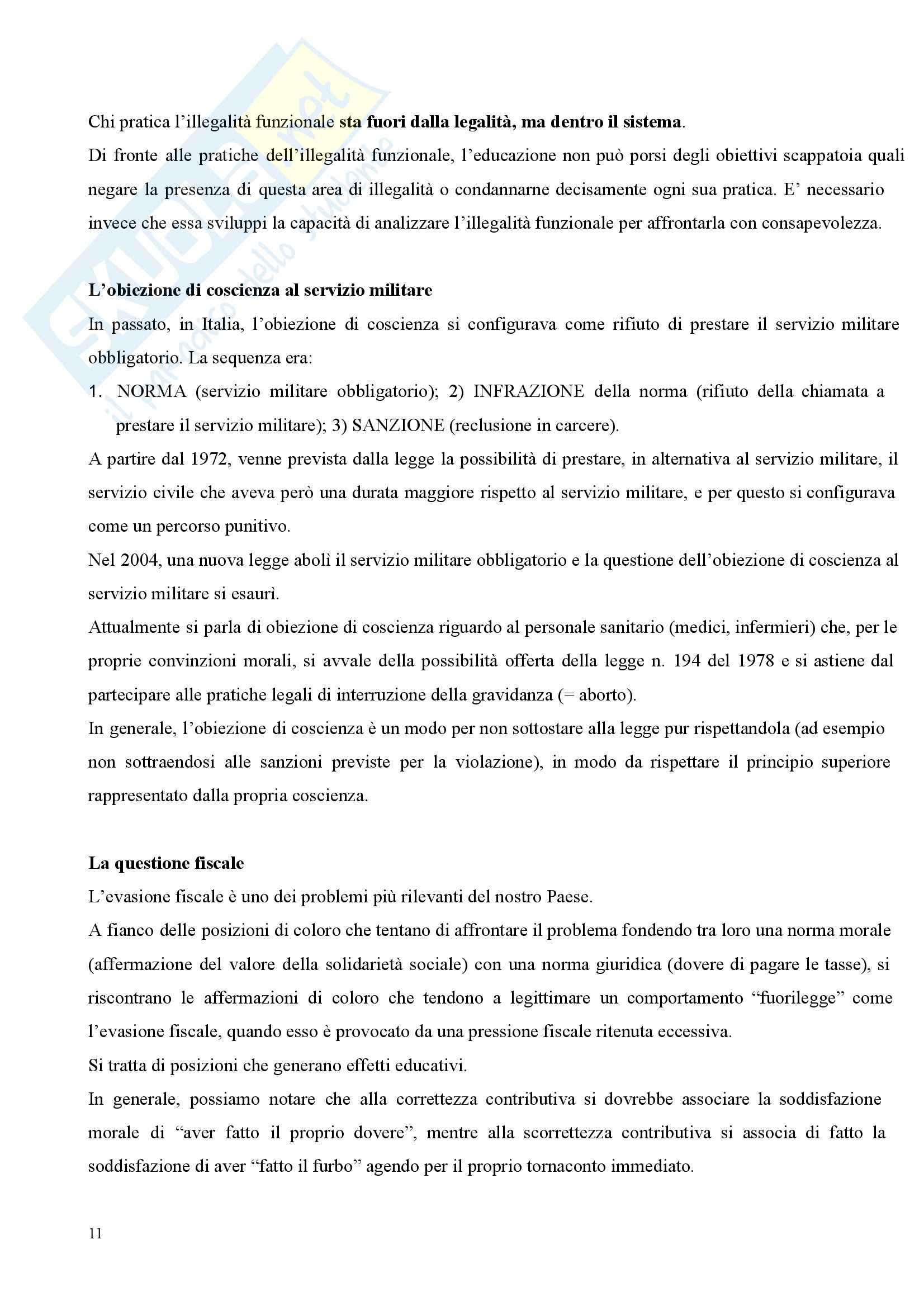 Riassunto esame Pedagogia Sociale, prof. Tramma, libro consigliato Legalità Illegalità: Il Confine Pedagogico Pag. 11