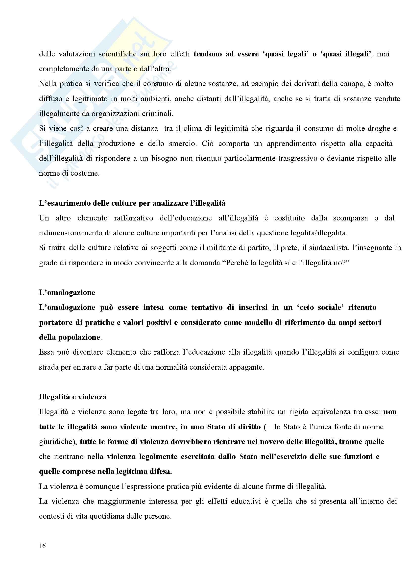 Riassunto esame Pedagogia Sociale, prof. Tramma, libro consigliato Legalità Illegalità: Il Confine Pedagogico Pag. 16