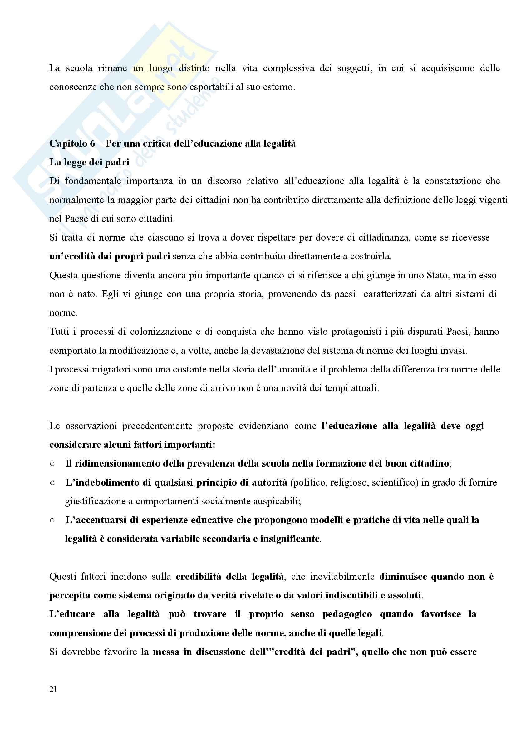 Riassunto esame Pedagogia Sociale, prof. Tramma, libro consigliato Legalità Illegalità: Il Confine Pedagogico Pag. 21