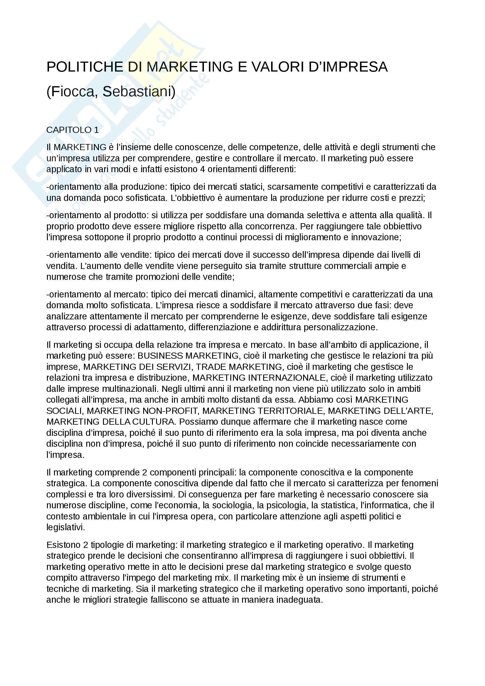 """Riassunto esame di marketing, prof. Giovanni Covassi, libro consigliato """"Politiche di marketing e valori d'impresa"""", 2014, R. Fiocca, R. Sebastiani"""