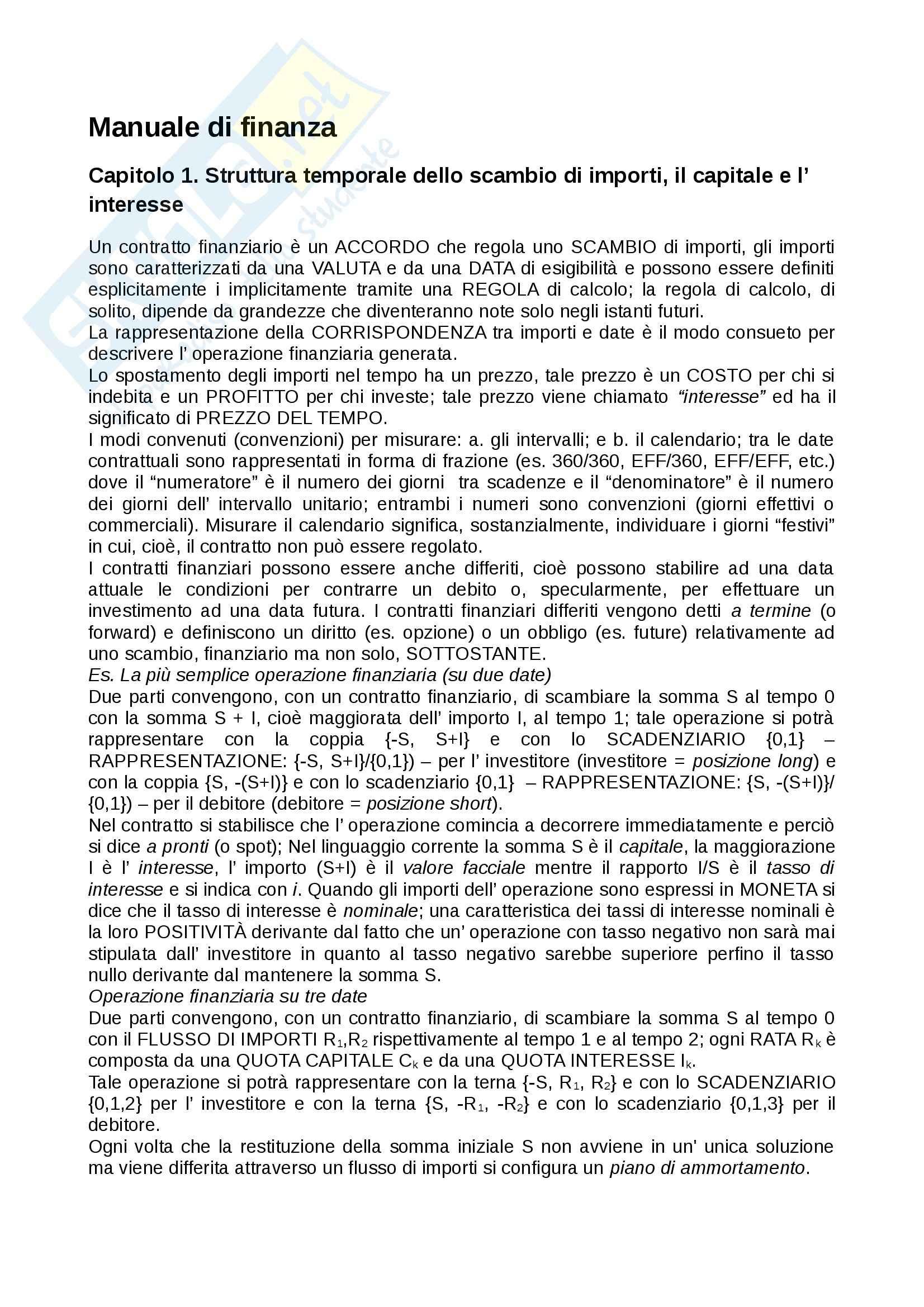 Riassunto esame Matematica finanziaria, prof. Bisceglia, libro consigliato Manuale di finanza I, Castellani, Moriconi, De Felice