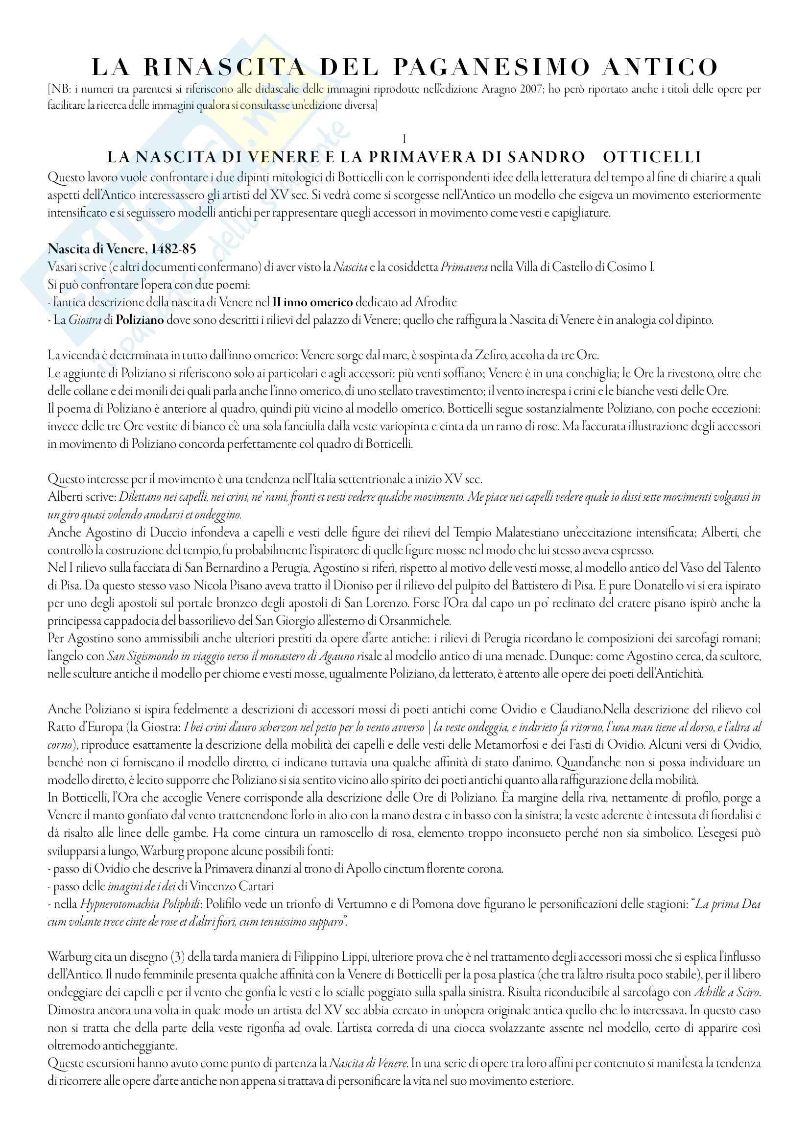 Riassunto esame Iconologia, prof. Cavicchioli, libro consigliato Rinascita del Paganesimo Antico, Warburg