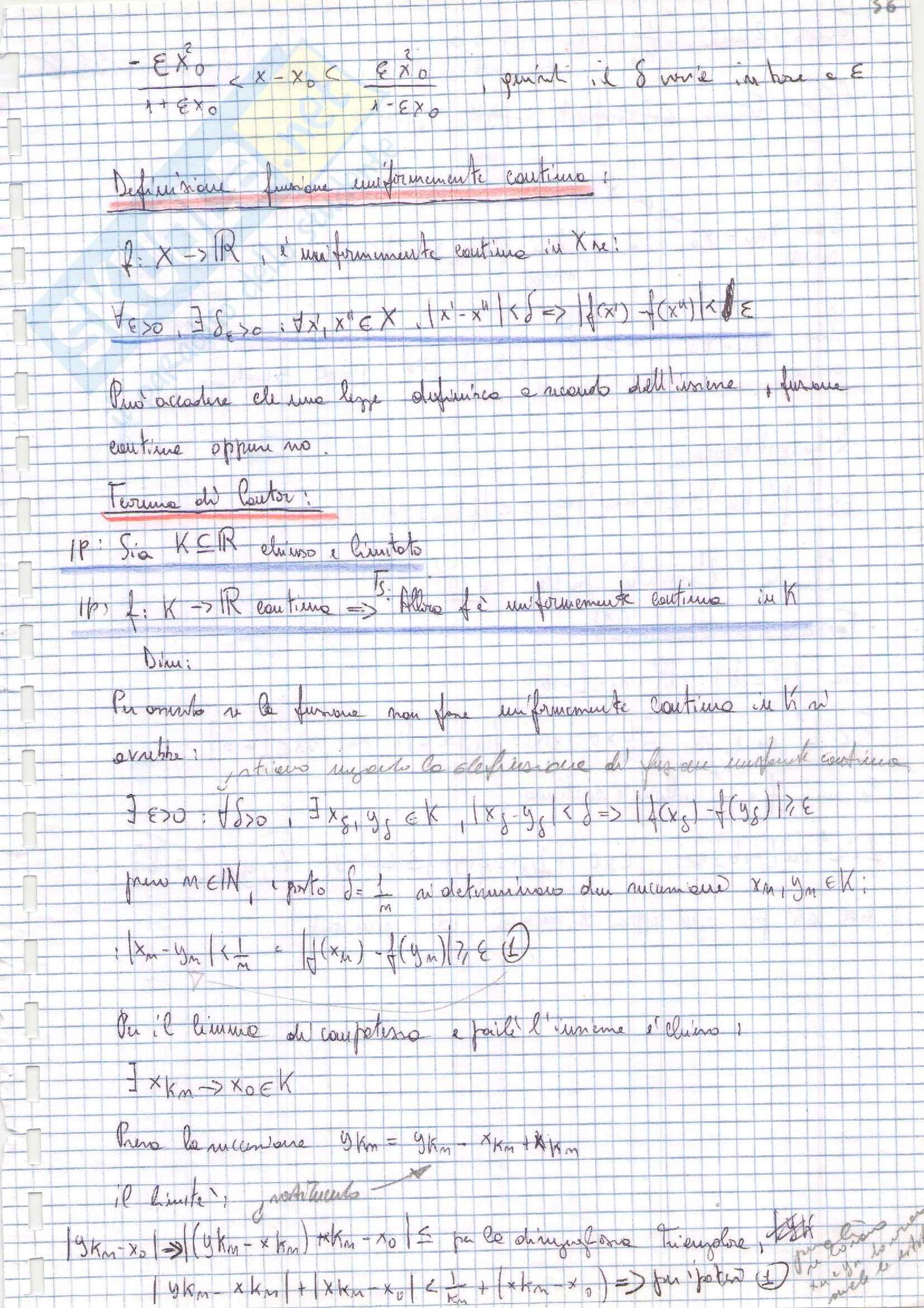 Riassunto esame (terza parte) di Analisi matematica 1, prof. Zamboni Pag. 36