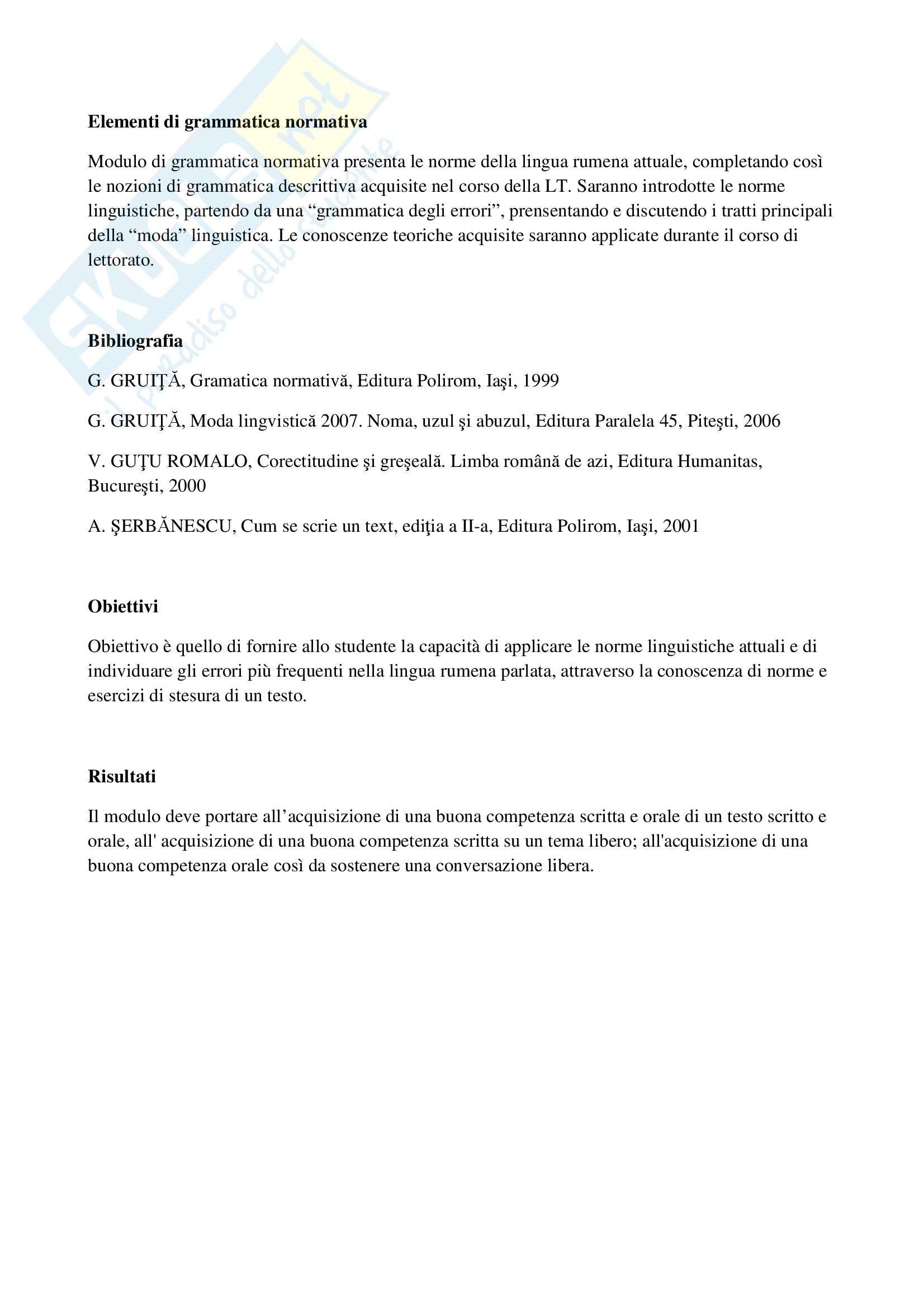 Grammatica normativa rumena - Elementi