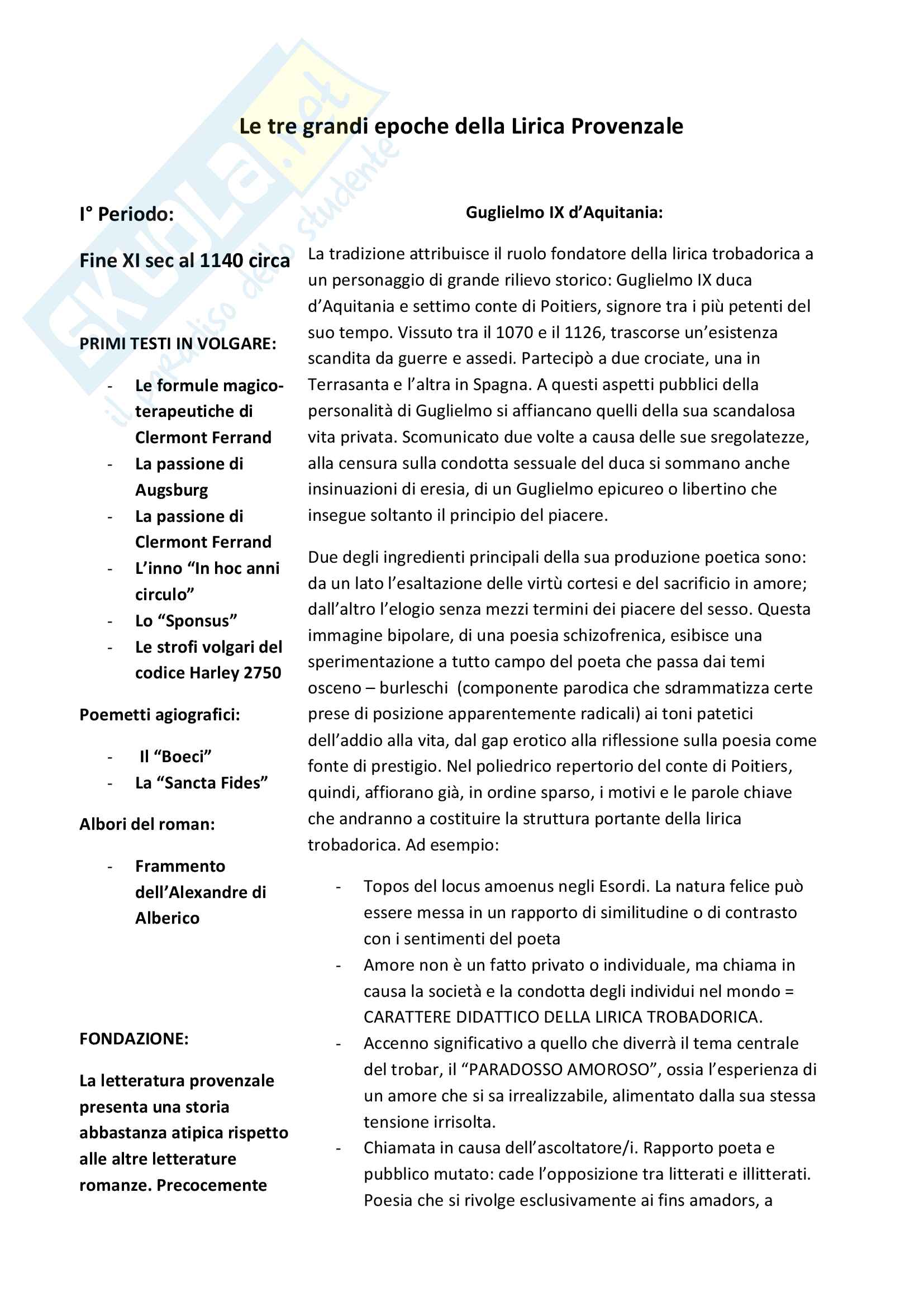 Riassunto esame Filologia Medievale e Umanistica, Cigni libro consigliato Costanzo Di Girolamo. I trovatori