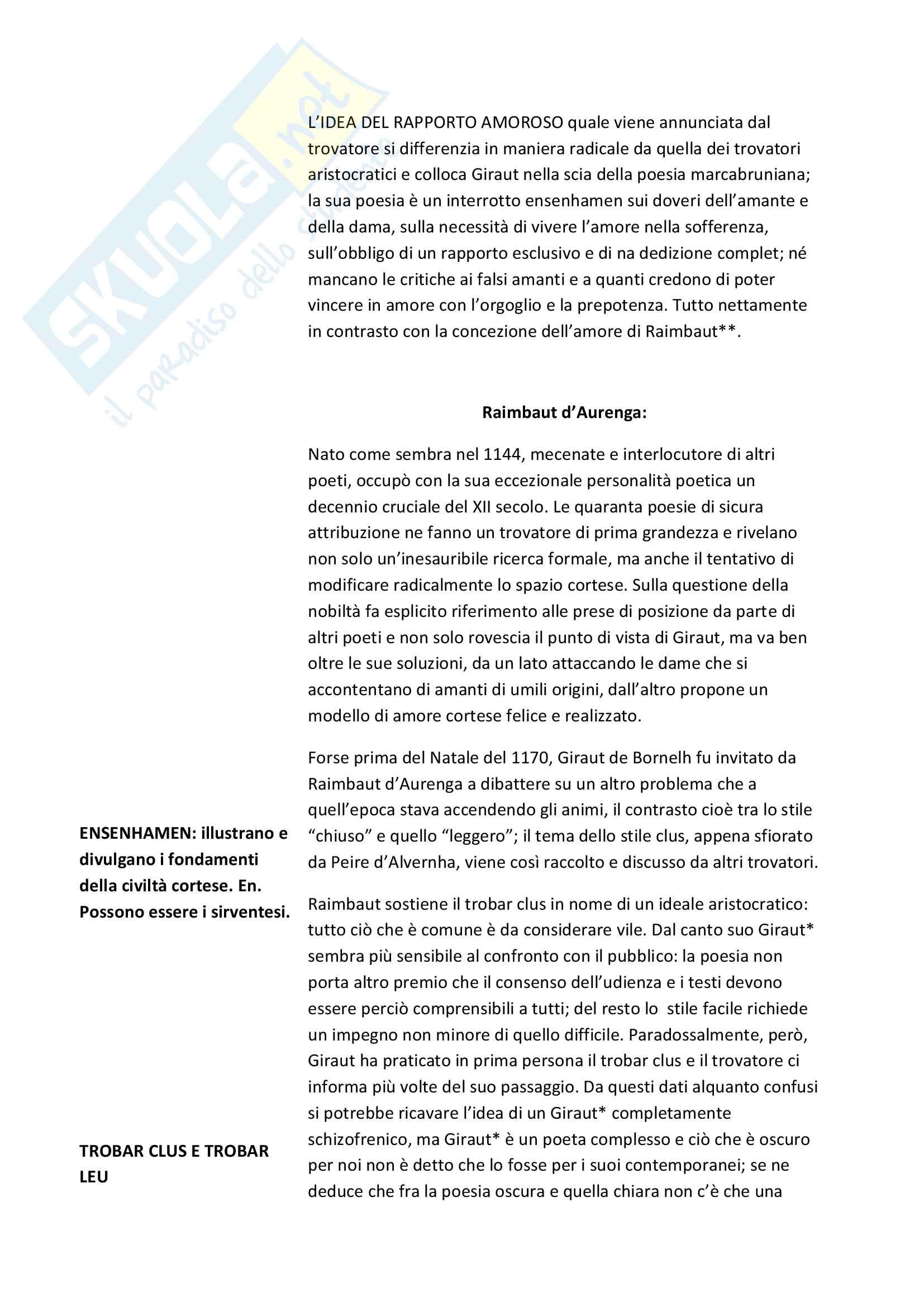 Riassunto esame Filologia Medievale e Umanistica, Cigni libro consigliato Costanzo Di Girolamo. I trovatori Pag. 6