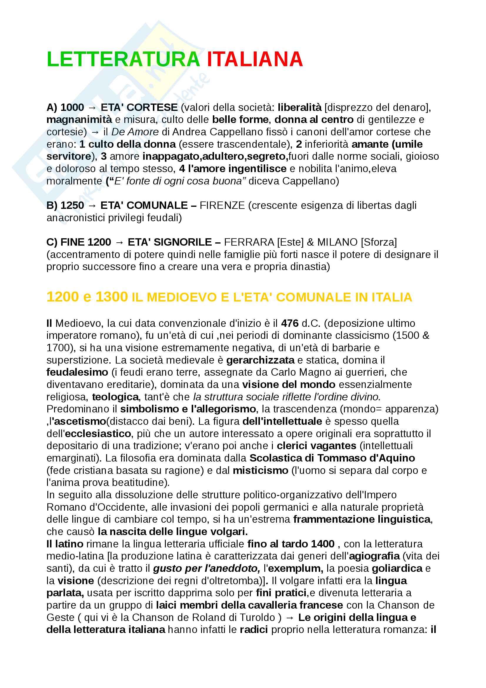 Riassunti Letteratura Italiana dalle Origini al 1300, libro consigliato 1° Baldi , con analisi dei testi, introduzione agli autori e opere, contesti storici, prof. Oliva