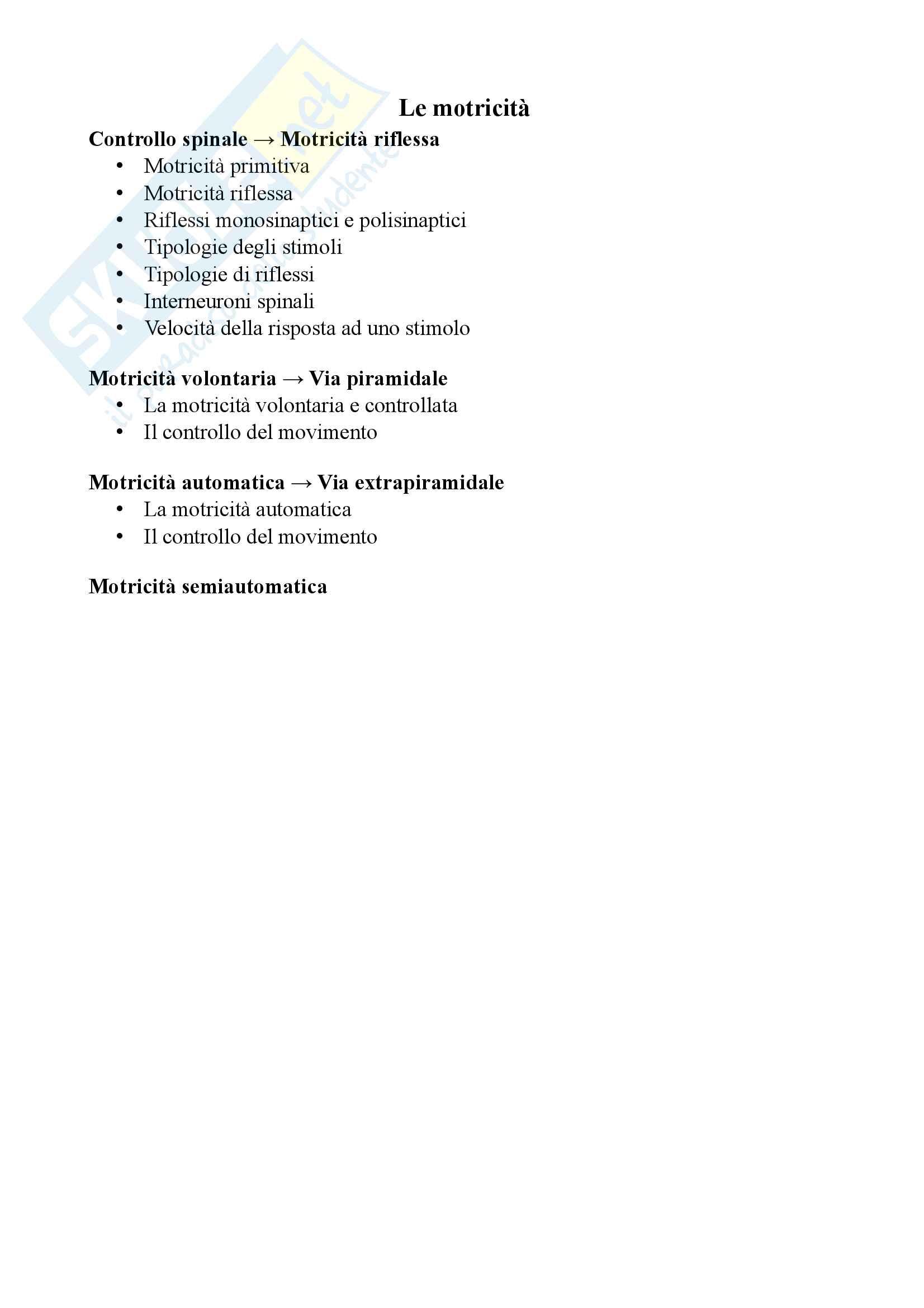 Appunti sulle motricità - Teoria e metodologia del movimento umano