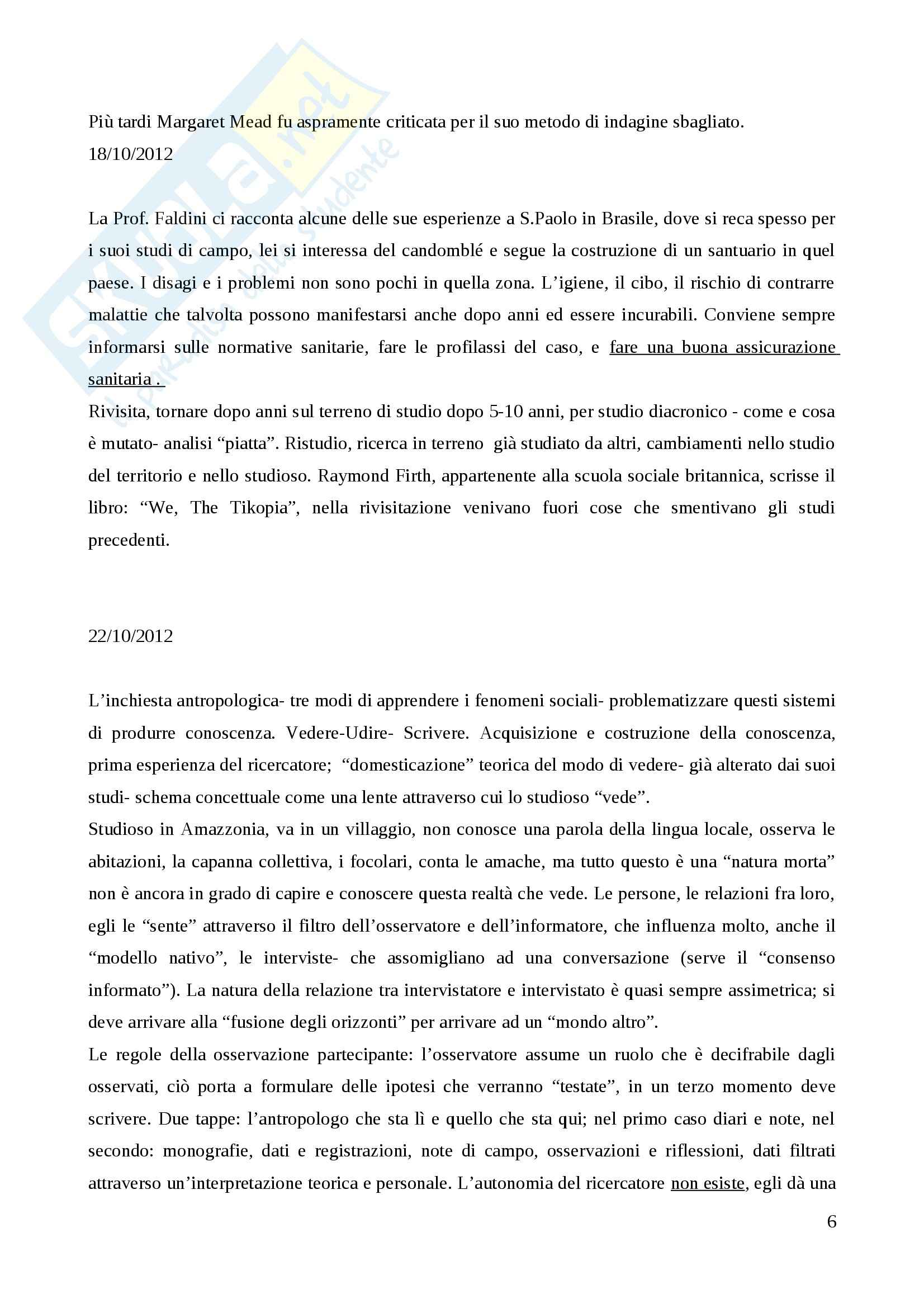 Metodologia della ricerca antropologica - Appunti Pag. 6