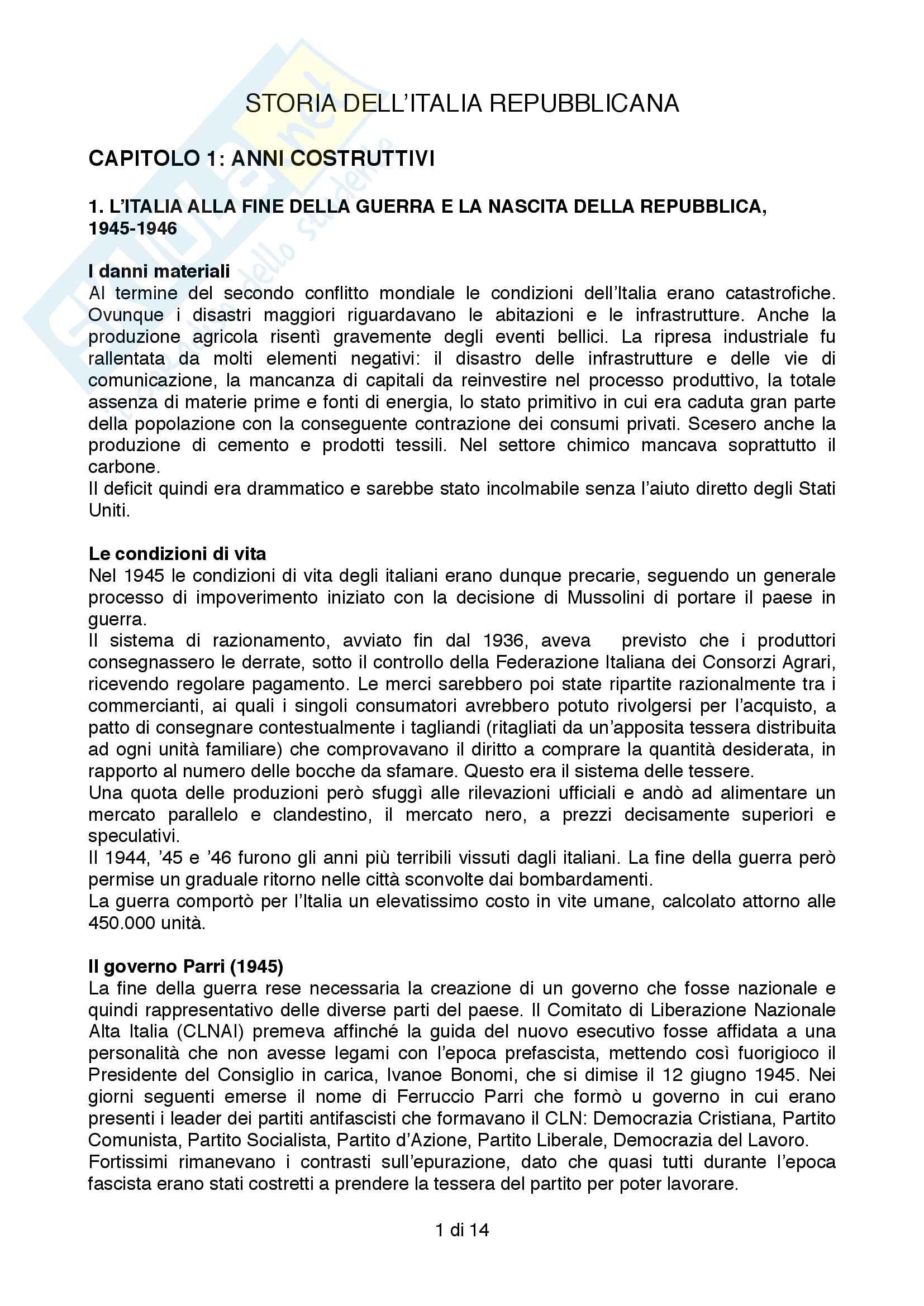 Riassunto esame Storia Contemporanea, prof. Formigoni, libro consigliato Storia dell'Italia Repubblicana
