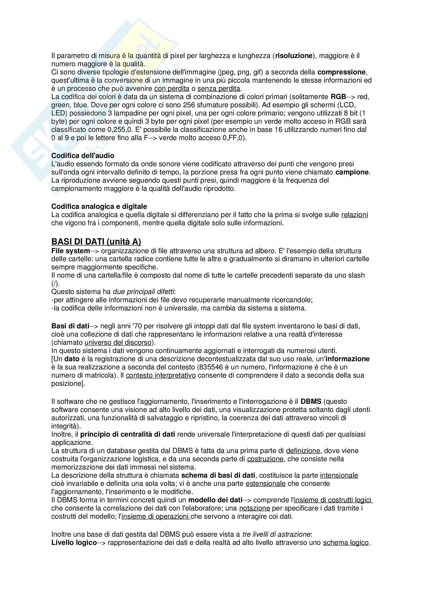 Riassunto esame Informatica, prof. Ferrara, libro consigliato Informazione, conoscenza e web per le scienze umanistiche, Ferrara Pag. 2