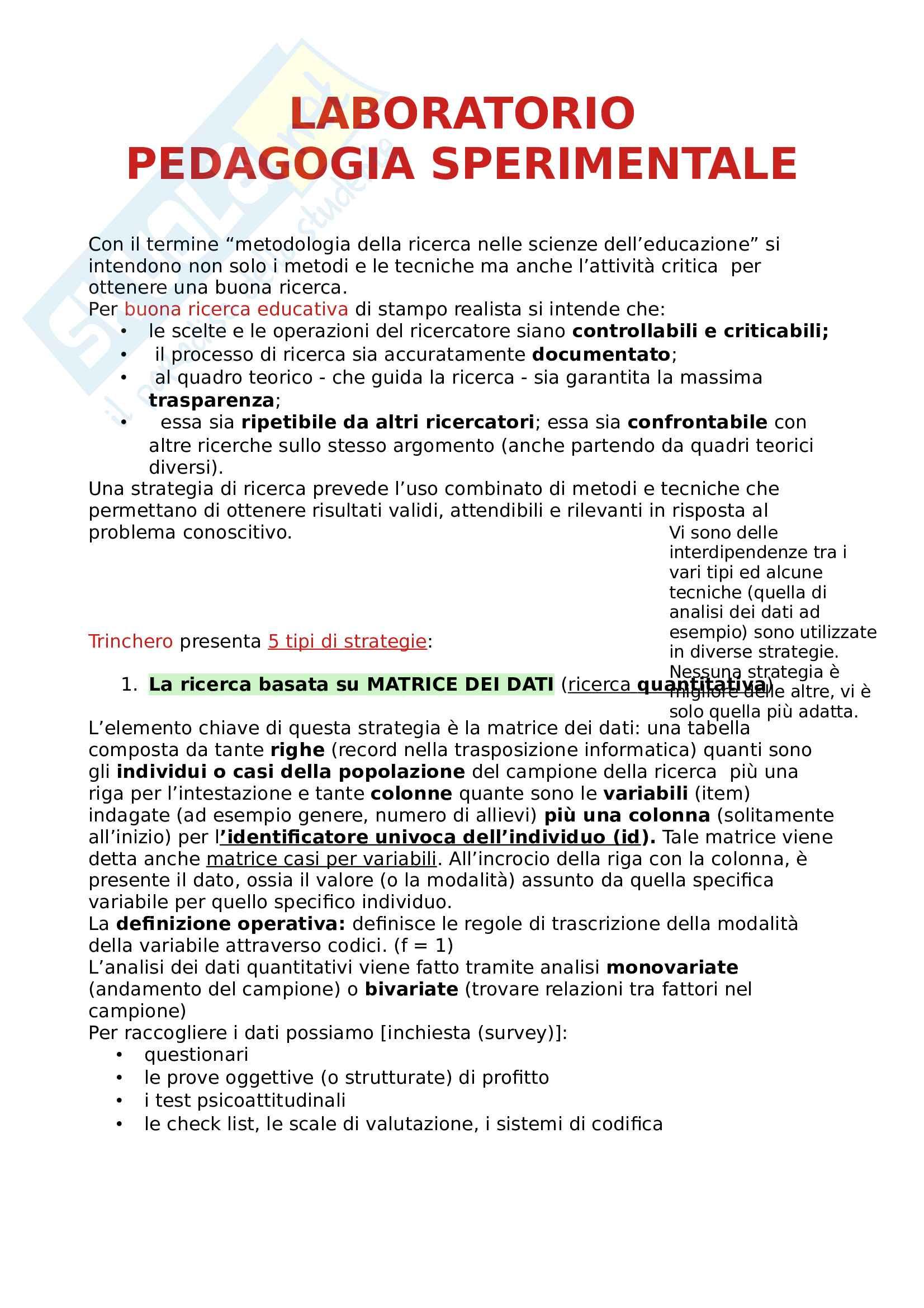Laboratorio Pedagogia Sperimentale Pag. 1
