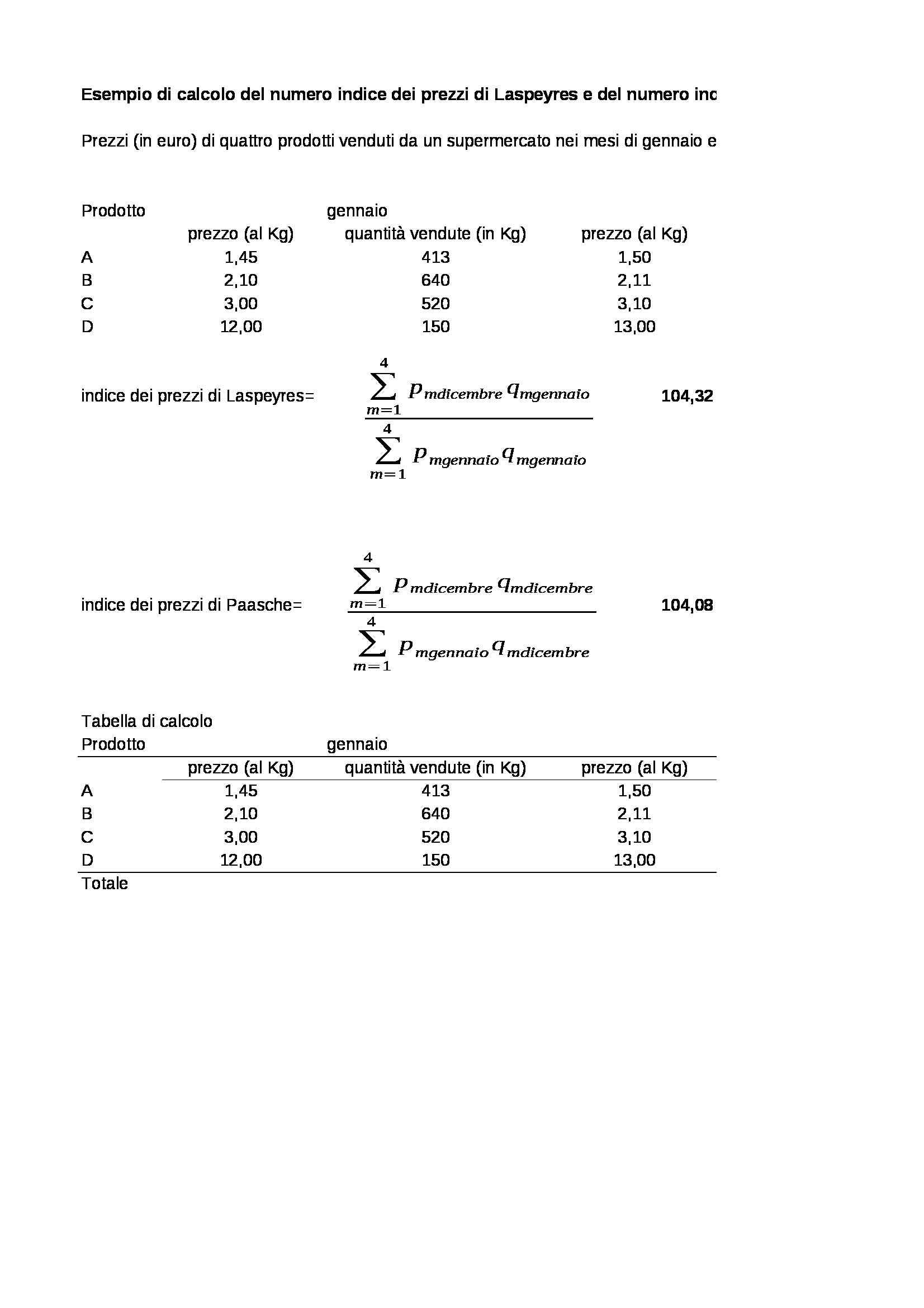 Indice di Laspeyres e Indice di Paasche