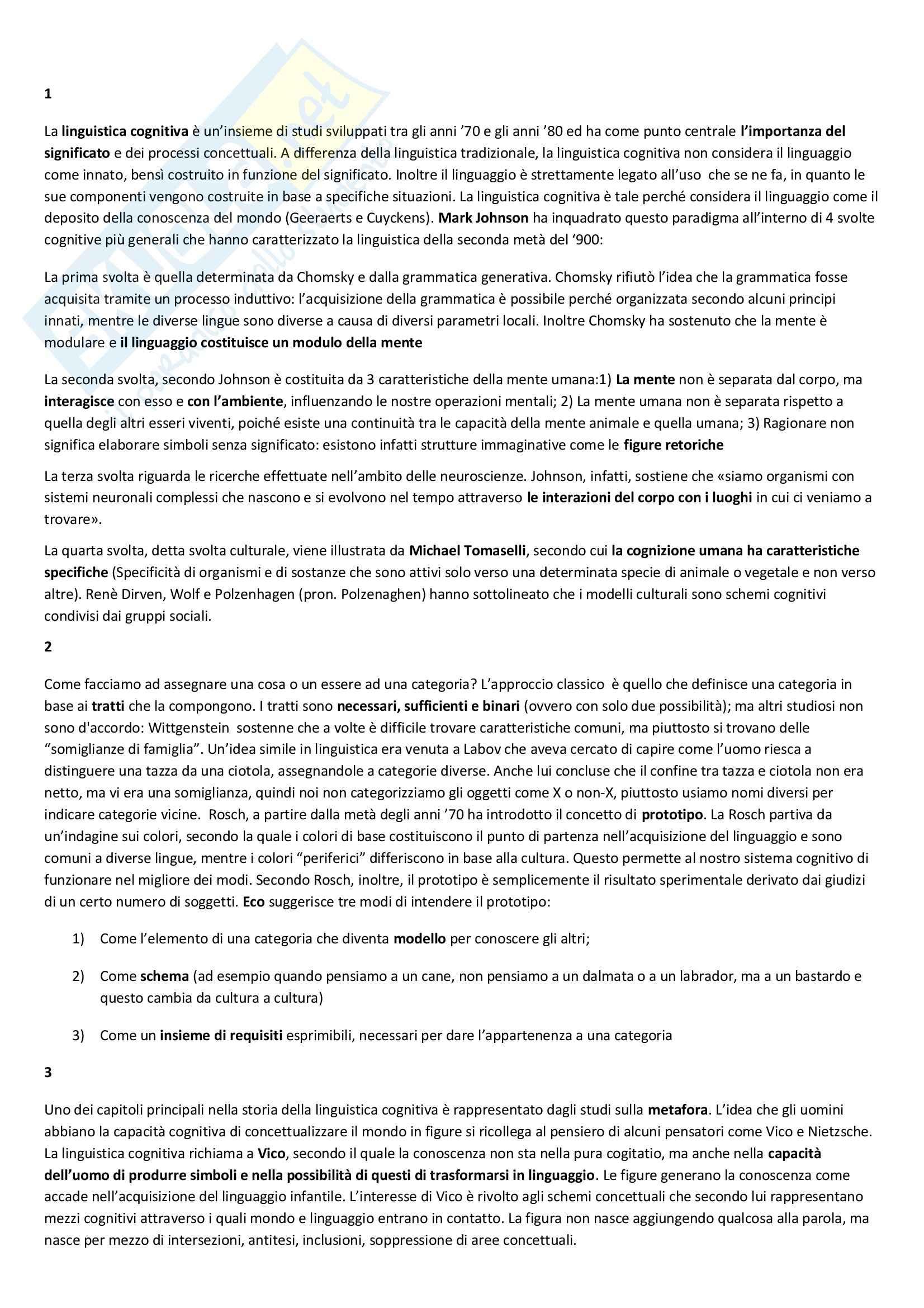 Riassunto esame Filosofia, prof. Mazzone, libro consigliato Che cos'è la linguistica cognitiva, Arduini, Fabbri