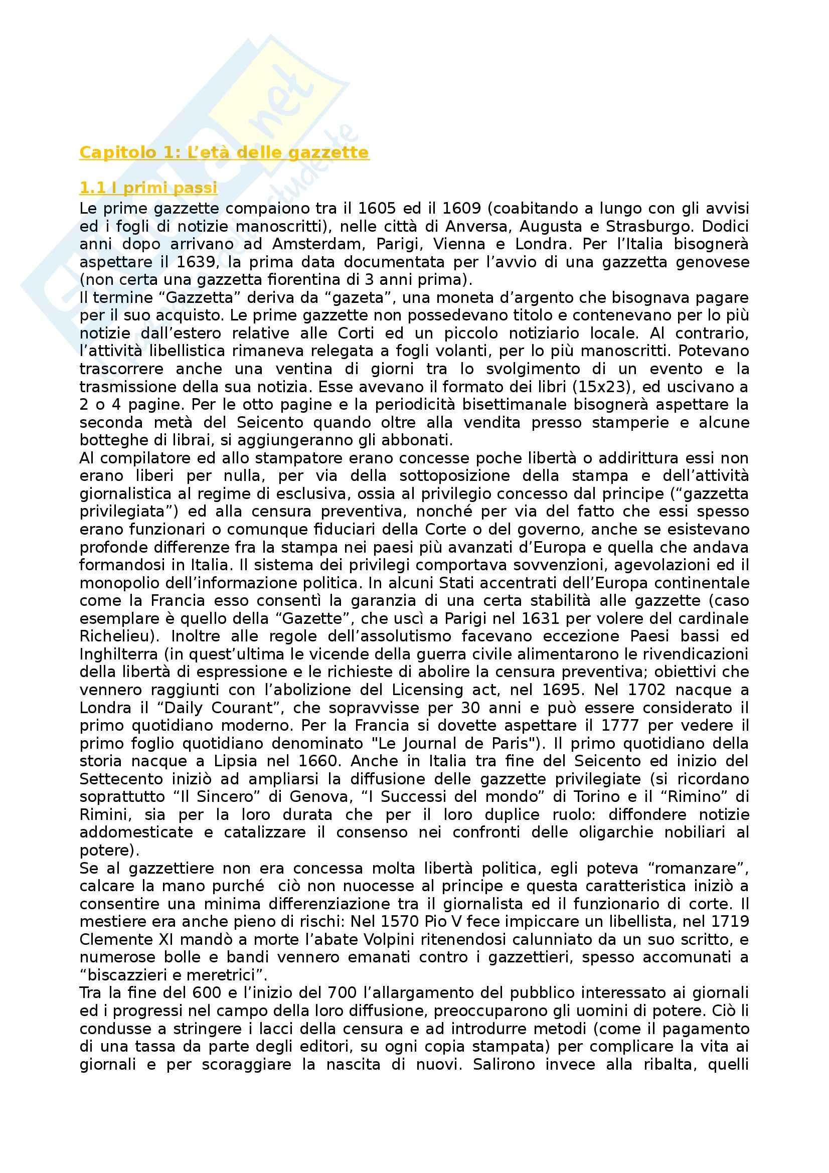 Riassunto esame Storia dei Media e del Giornalismo, prof. Forno, libro consigliato Storia del Giornalismo Italiano, Murialdi