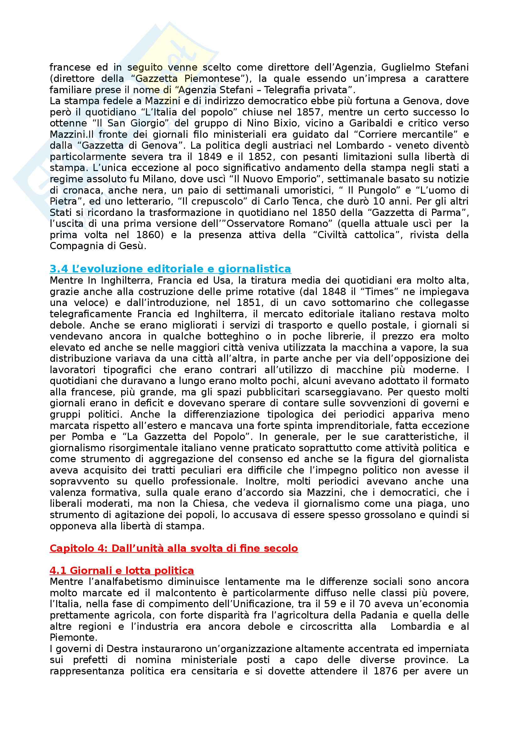 Riassunto esame Storia dei Media e del Giornalismo, prof. Forno, libro consigliato Storia del Giornalismo Italiano, Murialdi Pag. 11