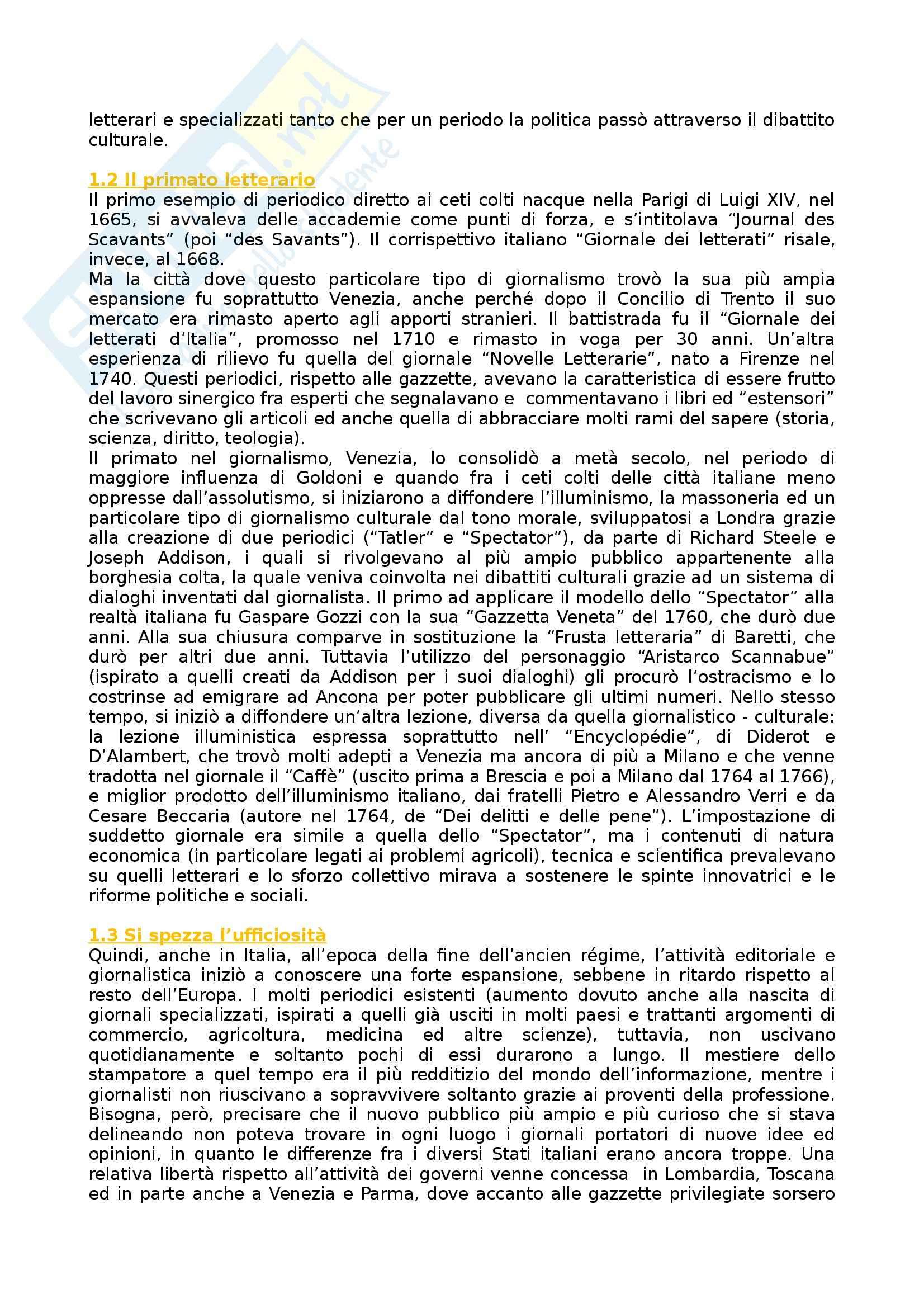 Riassunto esame Storia dei Media e del Giornalismo, prof. Forno, libro consigliato Storia del Giornalismo Italiano, Murialdi Pag. 2