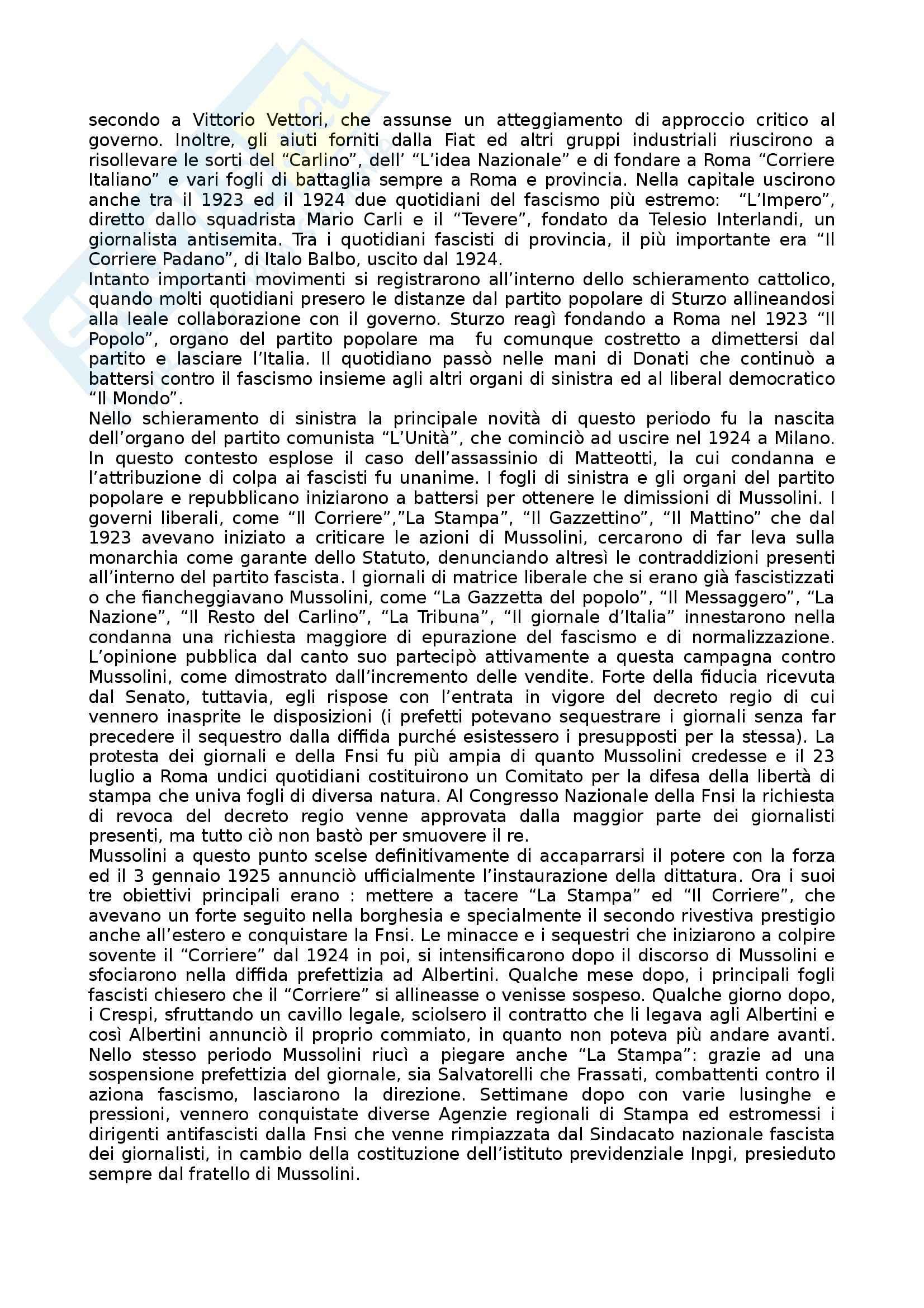 Riassunto esame Storia dei Media e del Giornalismo, prof. Forno, libro consigliato Storia del Giornalismo Italiano, Murialdi Pag. 31