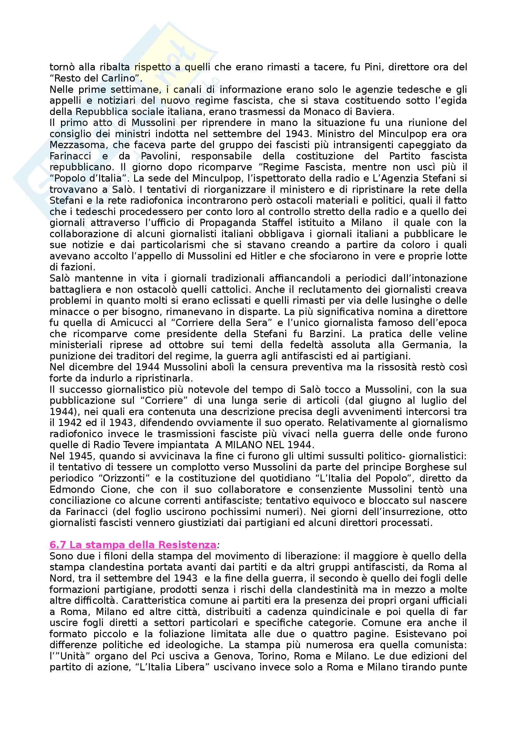 Riassunto esame Storia dei Media e del Giornalismo, prof. Forno, libro consigliato Storia del Giornalismo Italiano, Murialdi Pag. 41