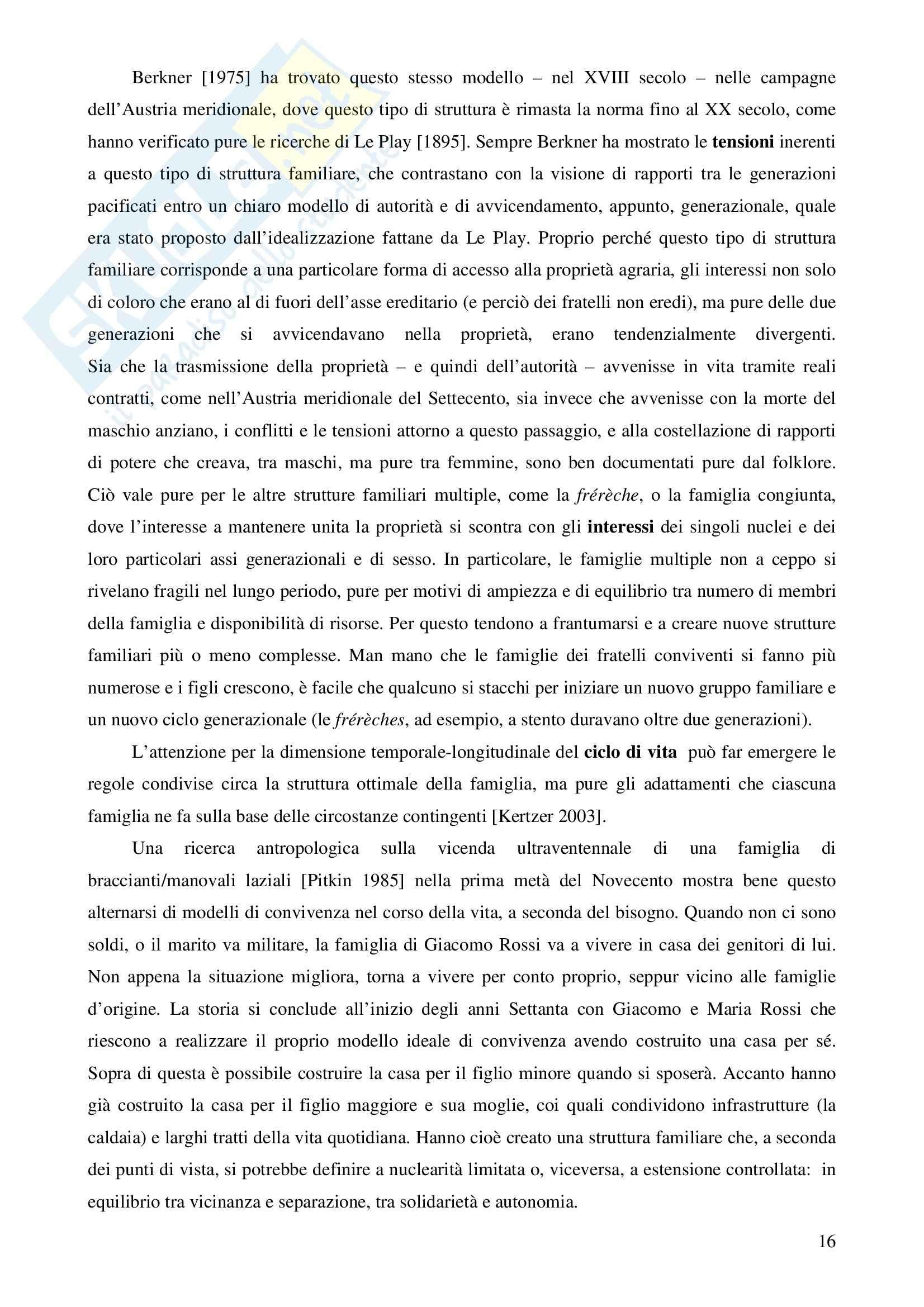 Riassunto esame Sociologia della famiglia e politiche sociali, prof. Mancarella, libro consigliato Sociologia della famiglia, Naldini, Saraceno Pag. 16