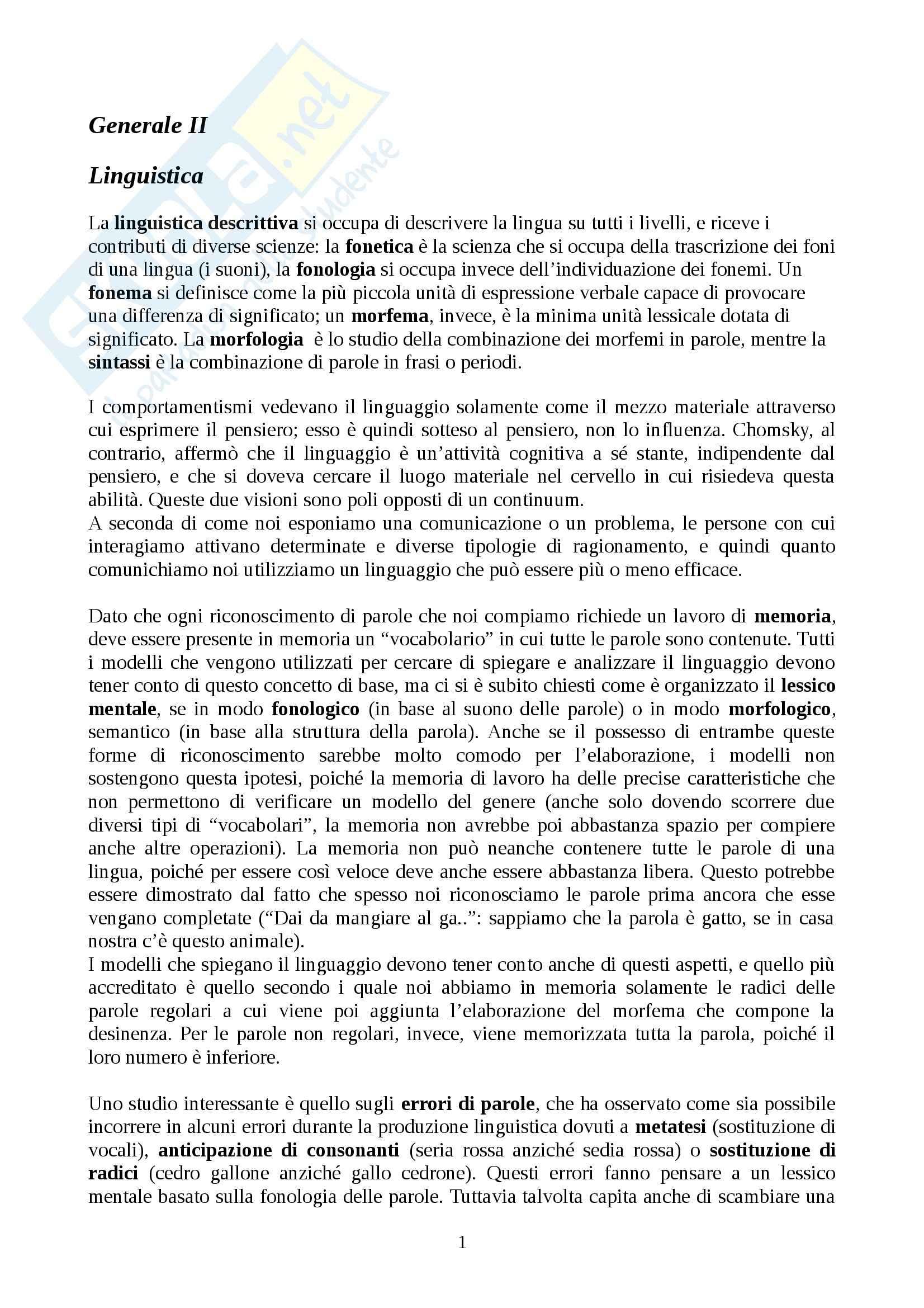 Psicologia generale II - Appunti