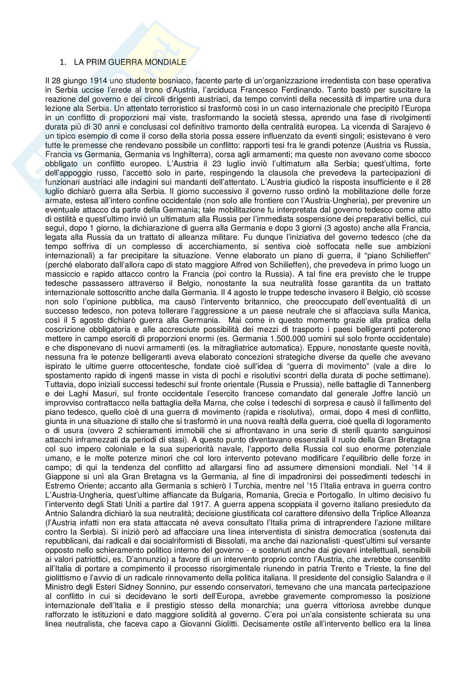 Riassunto esame Storia contemporanea, prof. Gentiloni, libro consigliato Storia Contemporanea Il Novecento, Sabbatucci, Vidotto
