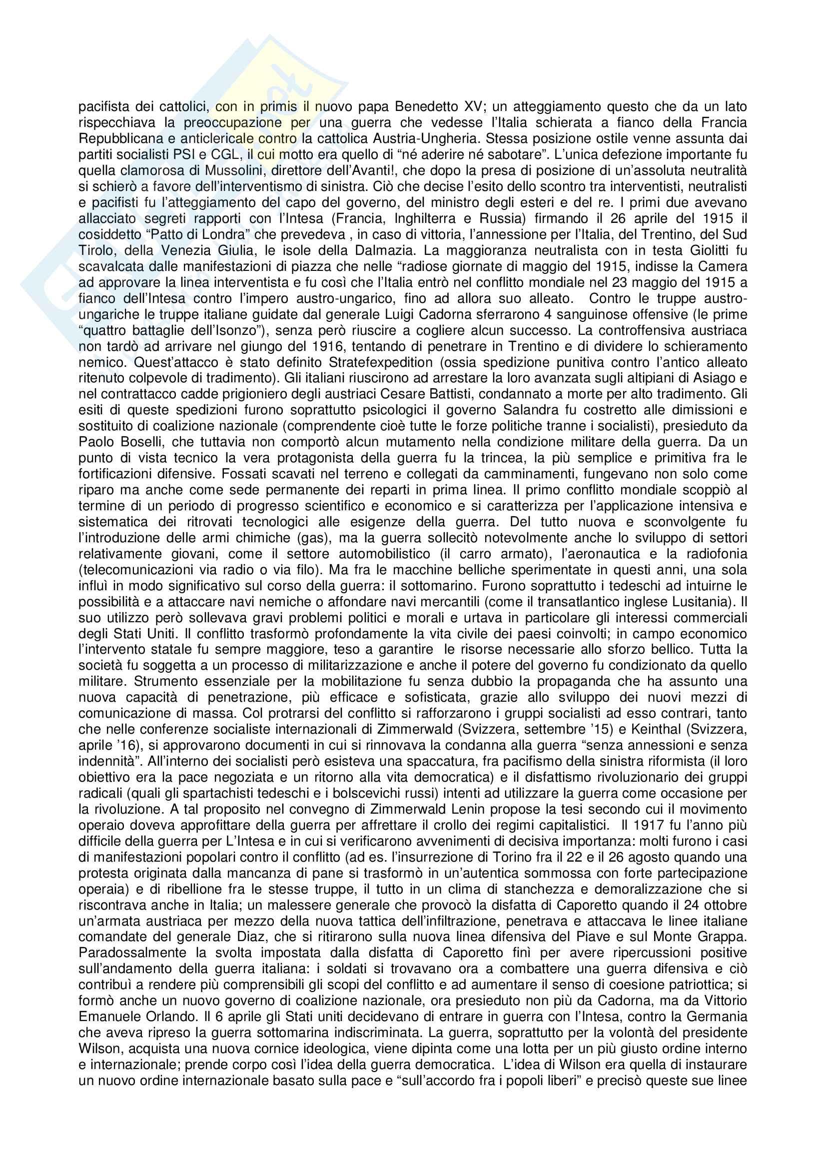 Riassunto esame Storia contemporanea, prof. Gentiloni, libro consigliato Storia Contemporanea Il Novecento, Sabbatucci, Vidotto Pag. 2