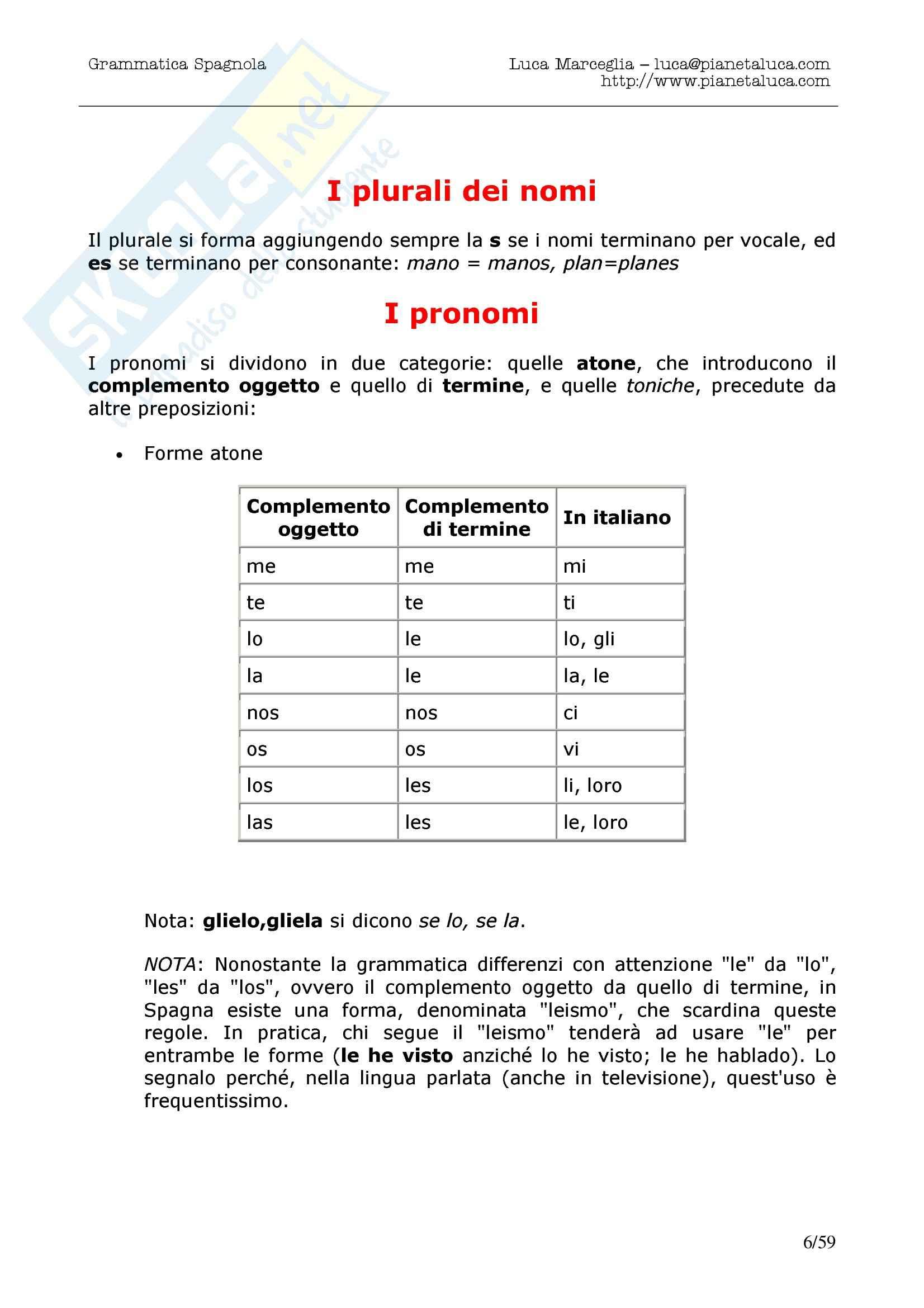 Grammatica spagnola Pag. 6