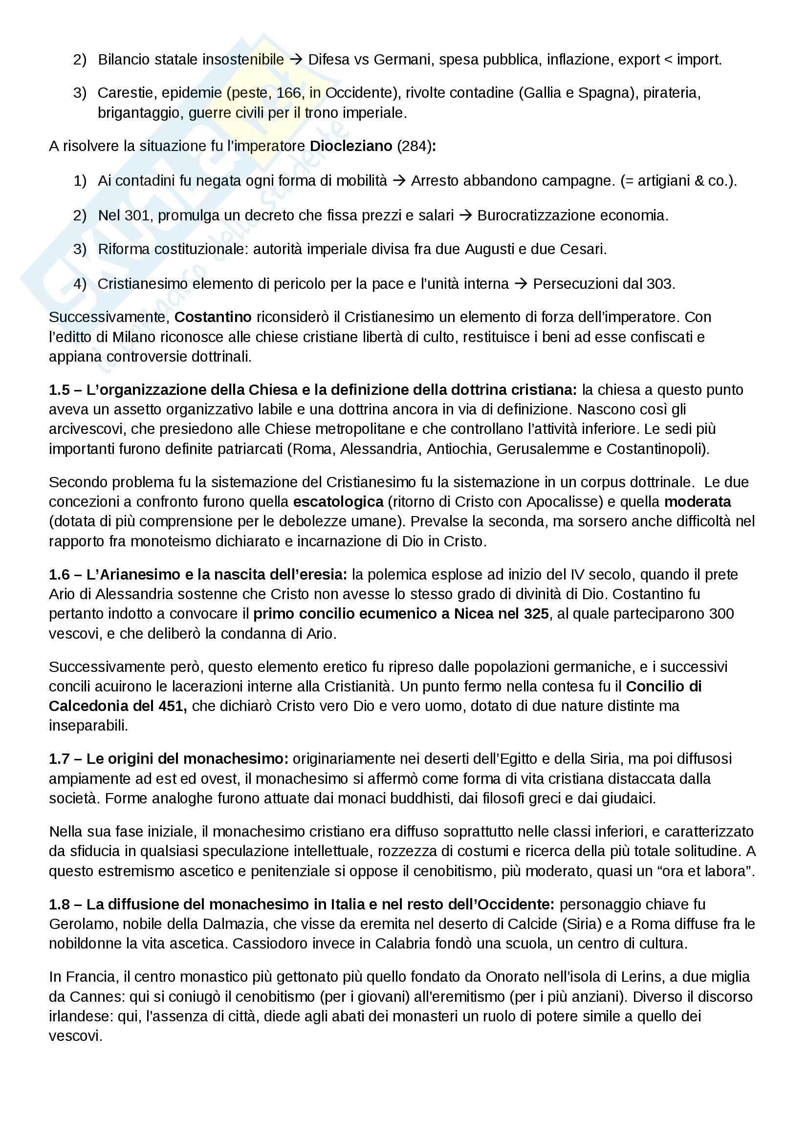 Riassunto esame Storia medievale, prof. Salvaneschi, libro consigliato Medioevo I caratteri originali di un'età di transizione di Vitolo Pag. 2