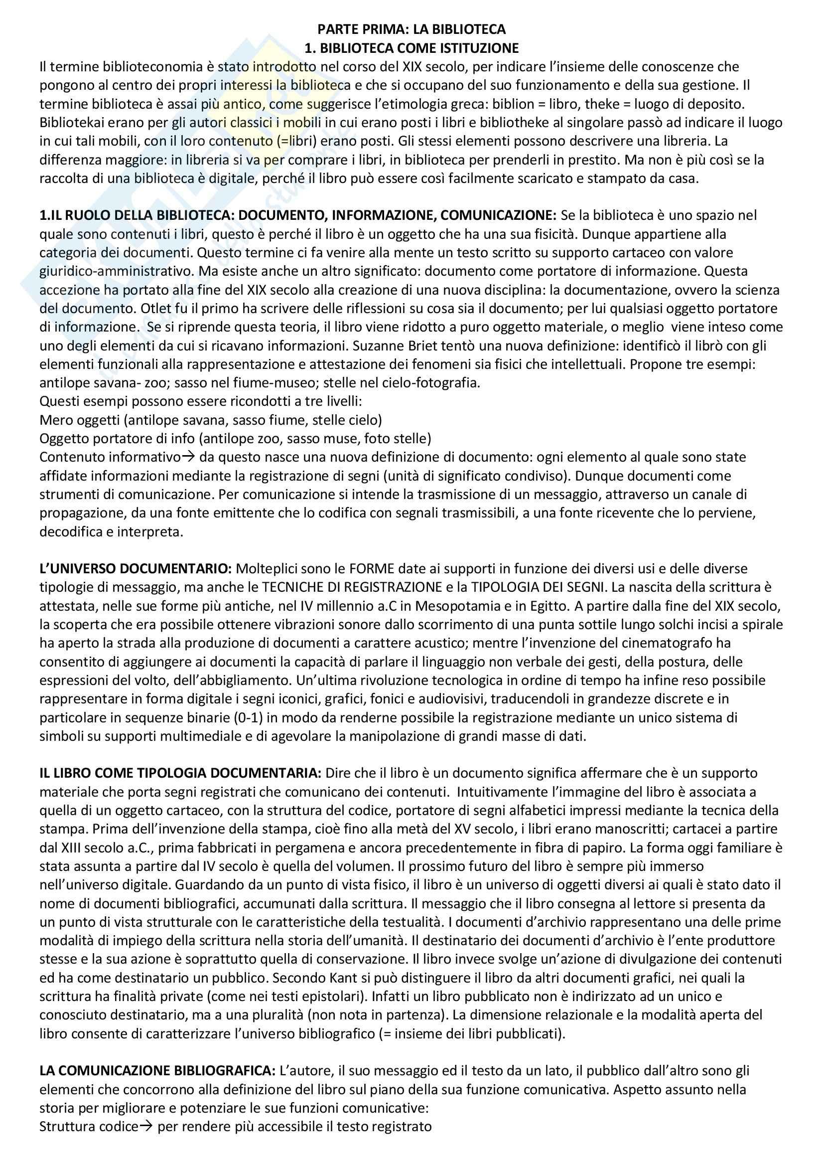 Riassunto esame Bibliografia e Biblioteconomia, prof. Groff, libro consigliato Manuale di Biblioteconomia, Montecchi