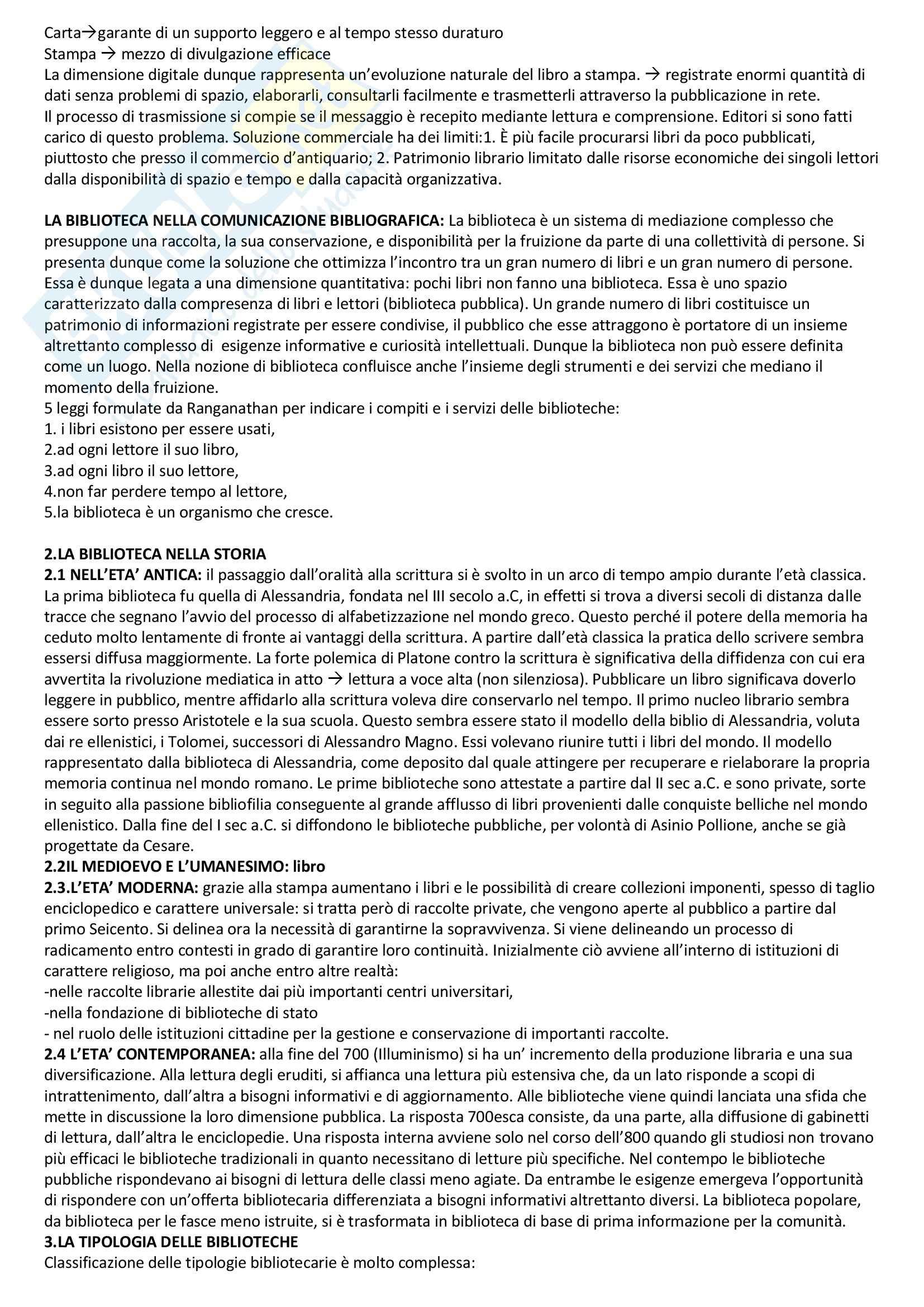 Riassunto esame Bibliografia e Biblioteconomia, prof. Groff, libro consigliato Manuale di Biblioteconomia, Montecchi Pag. 2