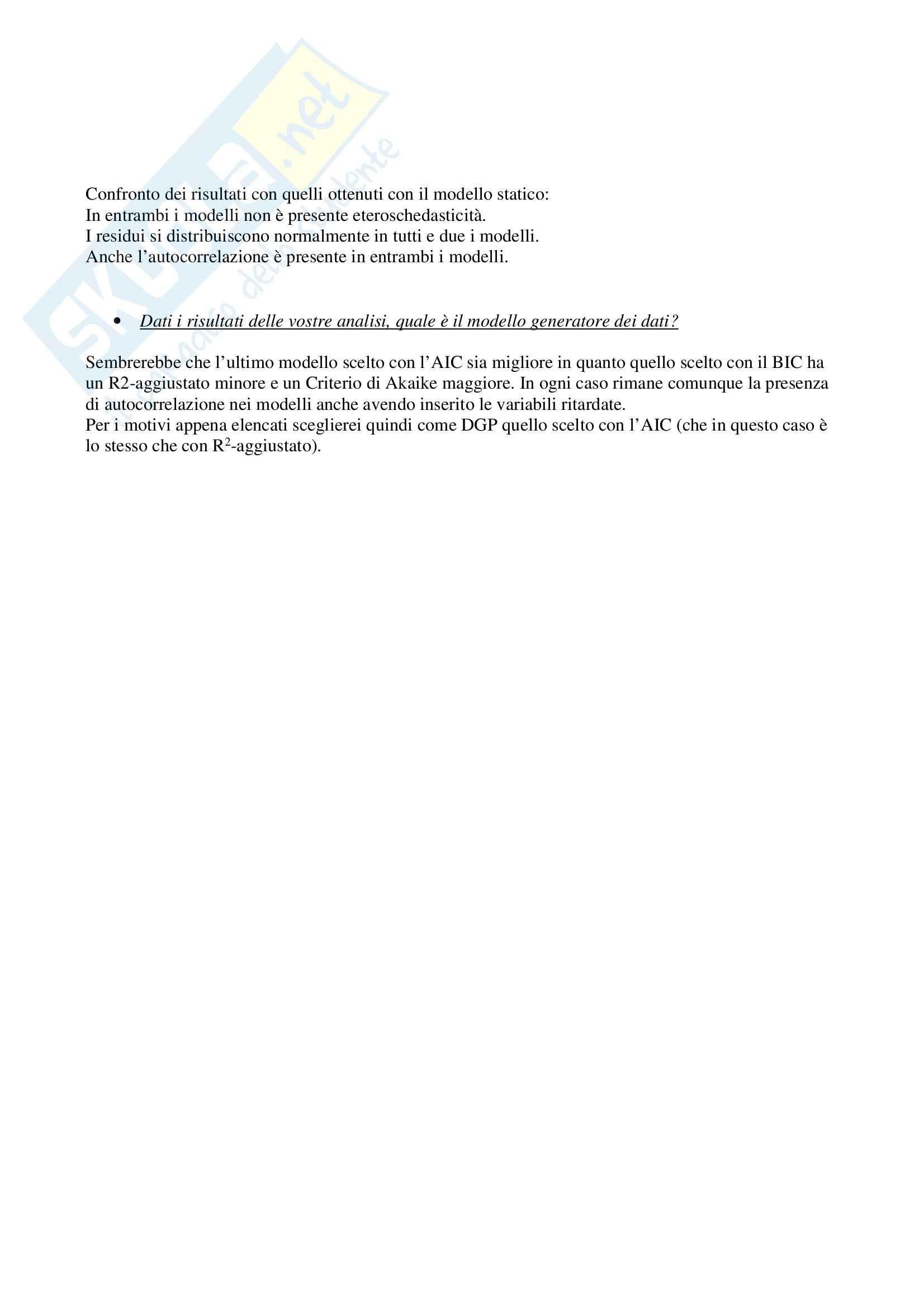 Introduzione all'Econometria - Prova pratica Pag. 11