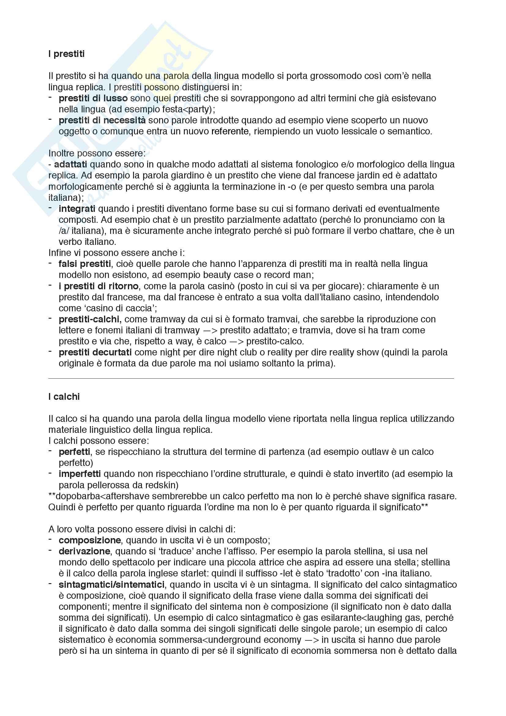Domande di Glottologia su prestiti e calchi