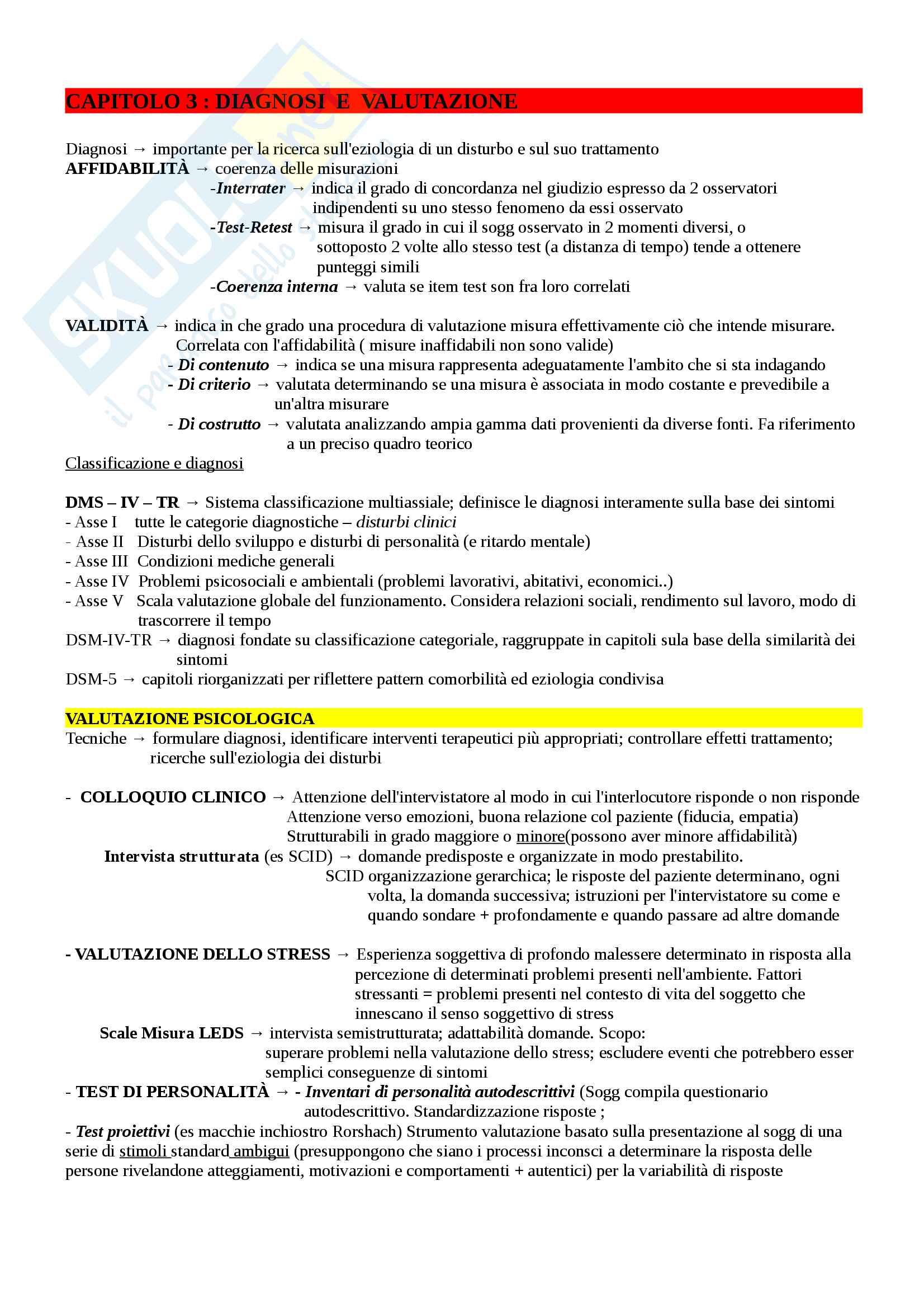 Riassunto esame Psicologia clinica, prof Sica, Manuale  di psicologia clinica