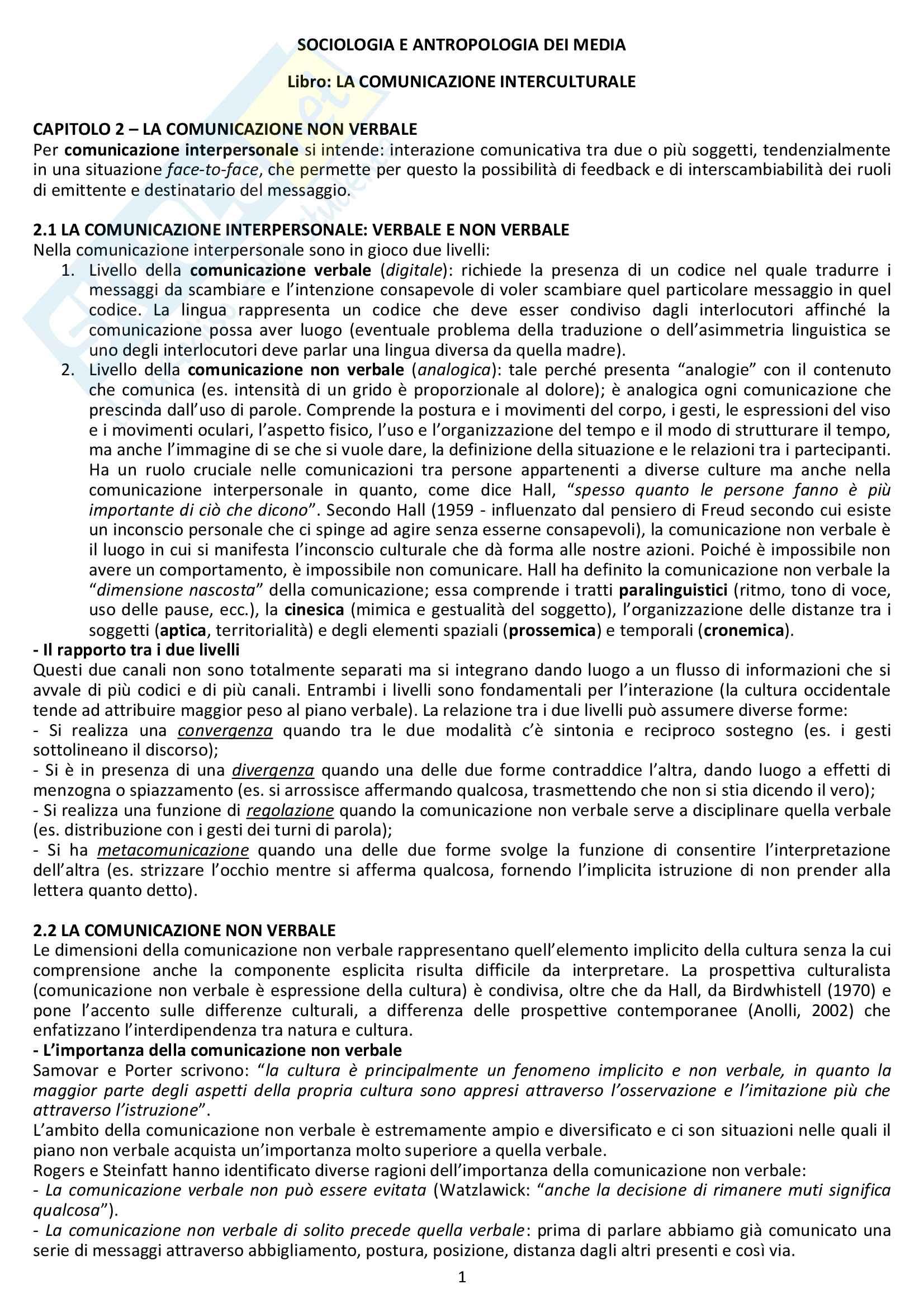 Riassunto esame Sociologia e antropologia dei media, prof. Giaccardi. Libro consigliato La Comunicazione Interculturale nell'era digitale (cap. 2 e 3)