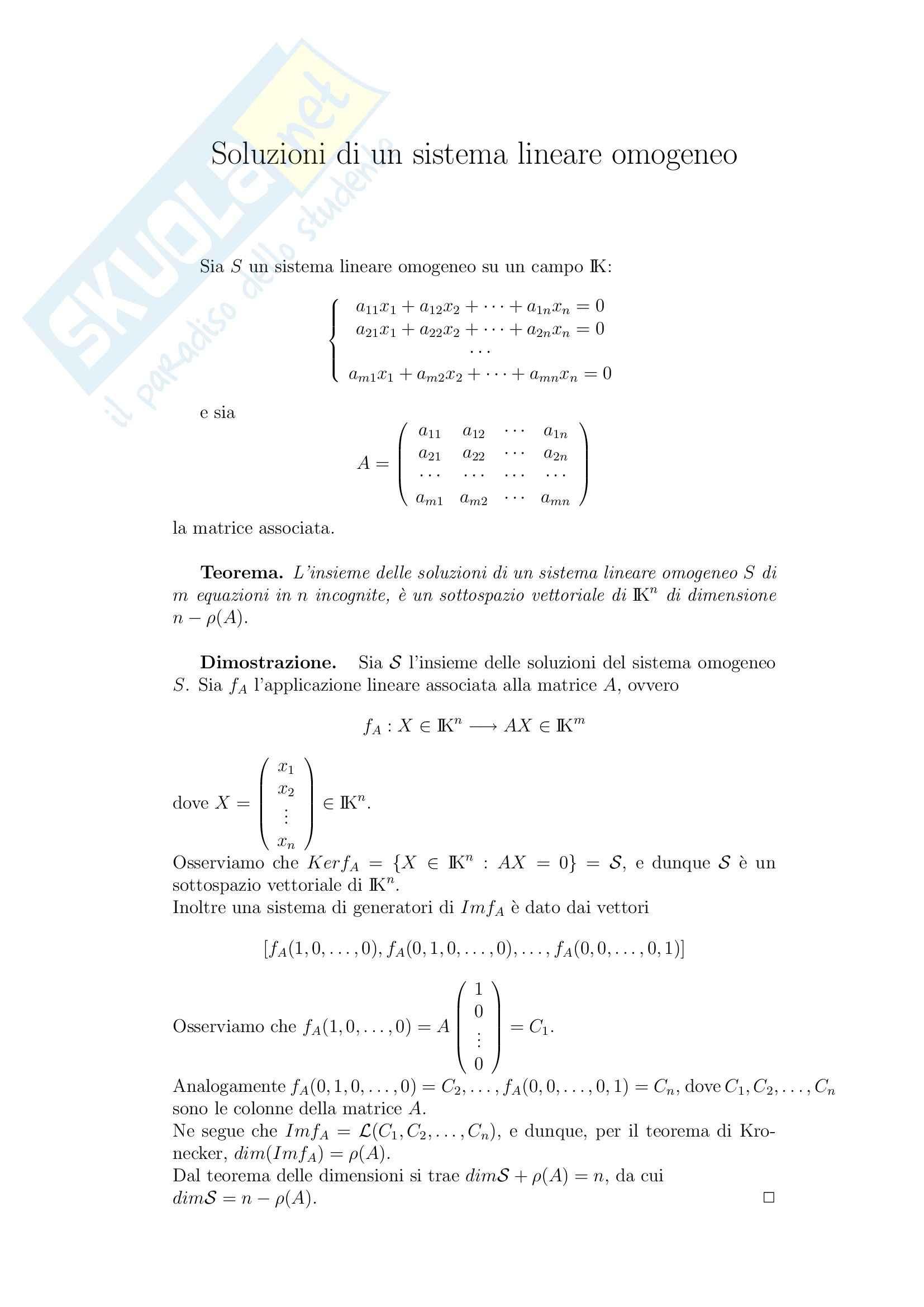 Geometria e Algebra - Soluzioni di un sistema lineare omogeneo