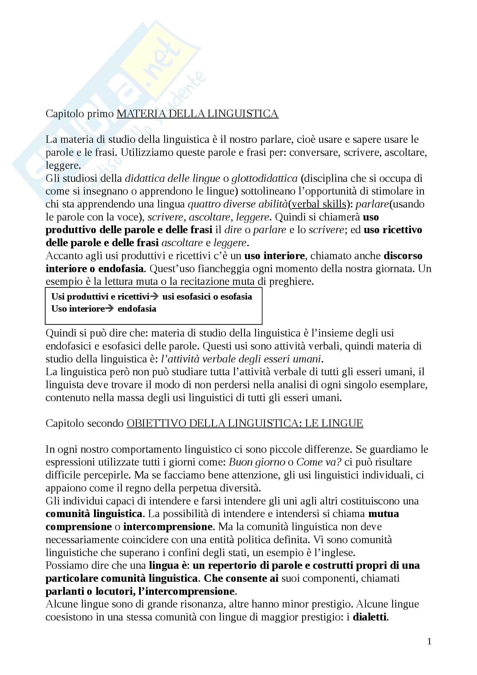 Riassunto esame Linguistica, prof. Thornton, libro consigliato Linguistica elementare, De Mauro