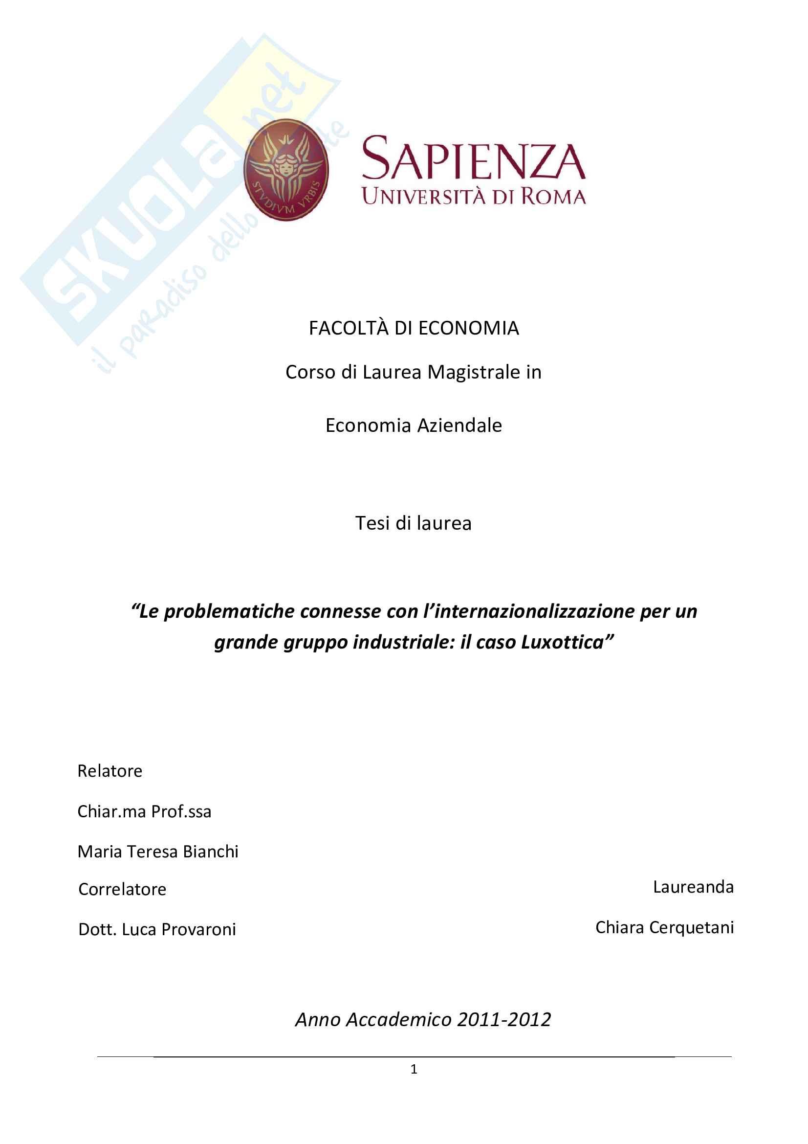 Tesi - Le problematiche connesse con l'internazionalizzazione: il caso Luxottica Pag. 1