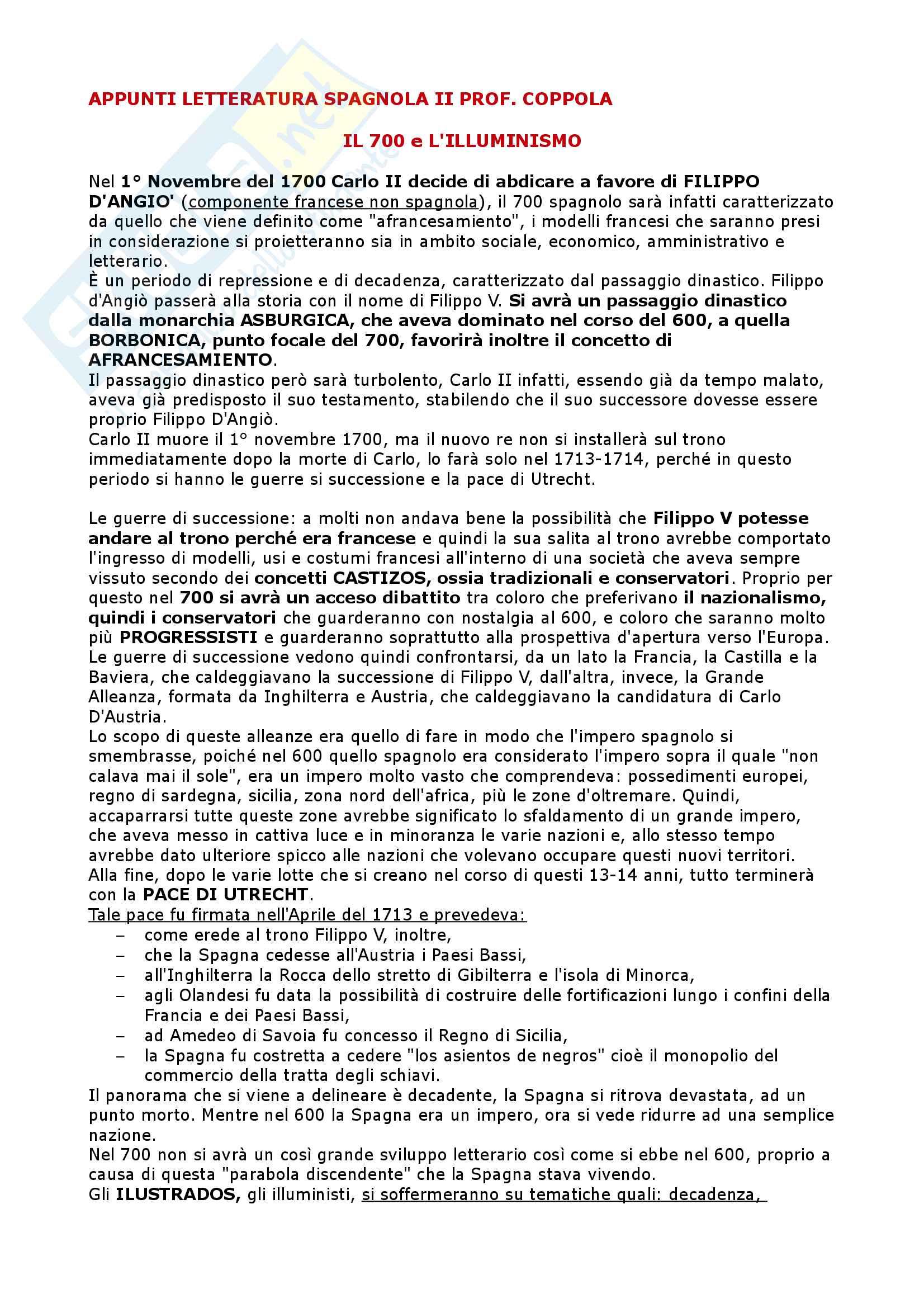 Il Settecento, l'Ottocento, il Novecento - Letteratura Spagnola II