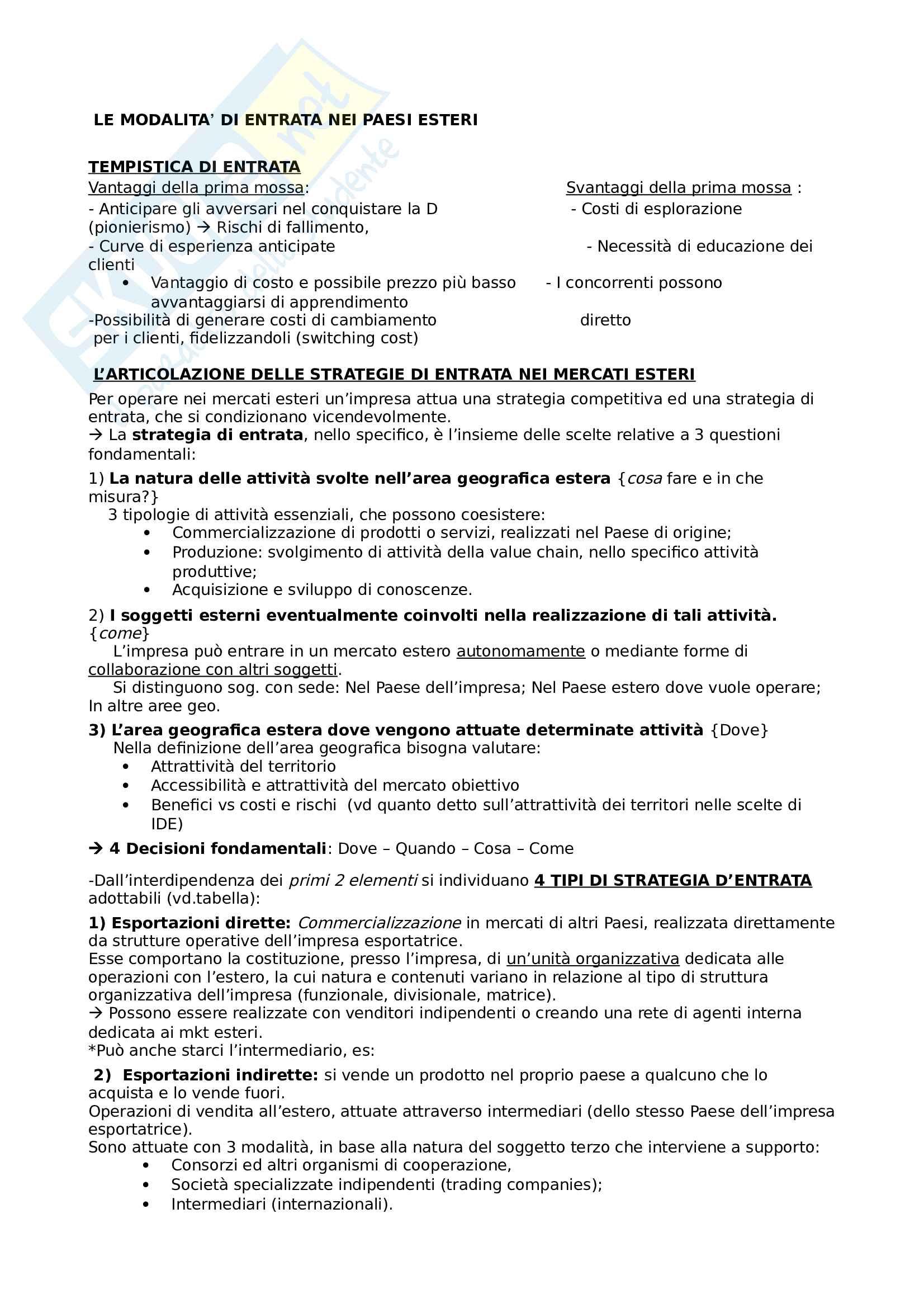 Gestione delle imprese internazionali Pag. 31