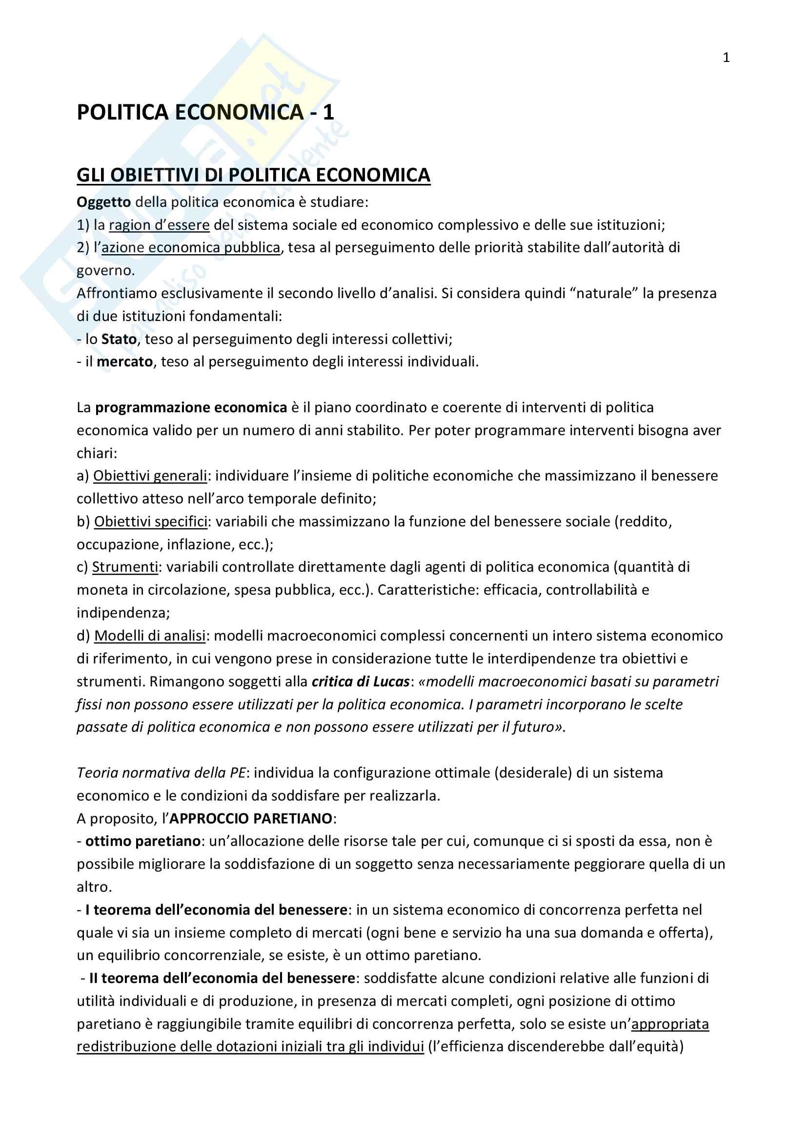 appunto P. Montalbano Politica economica
