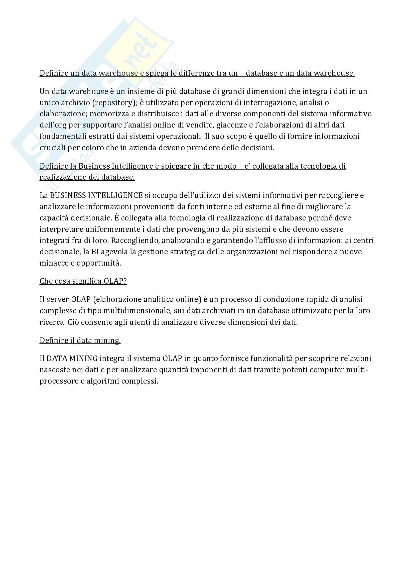 Domande e Risposte Informatica generale, Longo (libro consigliato ICT e sistemi informativi) Pag. 11