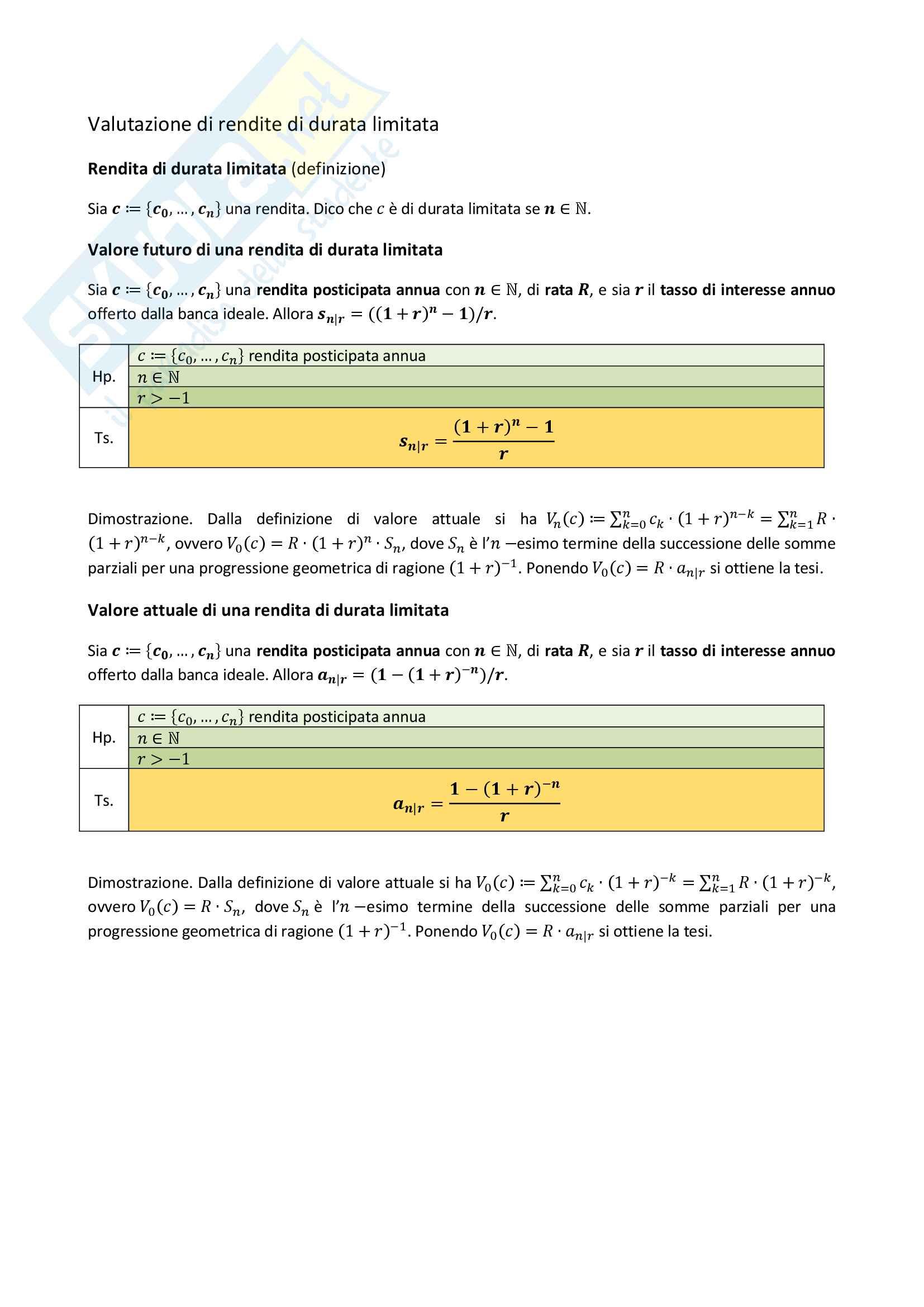 Appunti completi di Matematica finanziaria Pag. 26