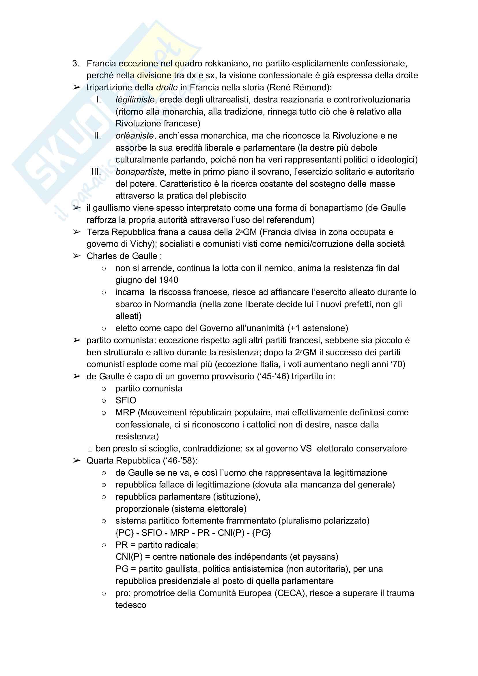 Appunti Politica comparata + Schema fratture (Lipset/Rokkan) Pag. 16